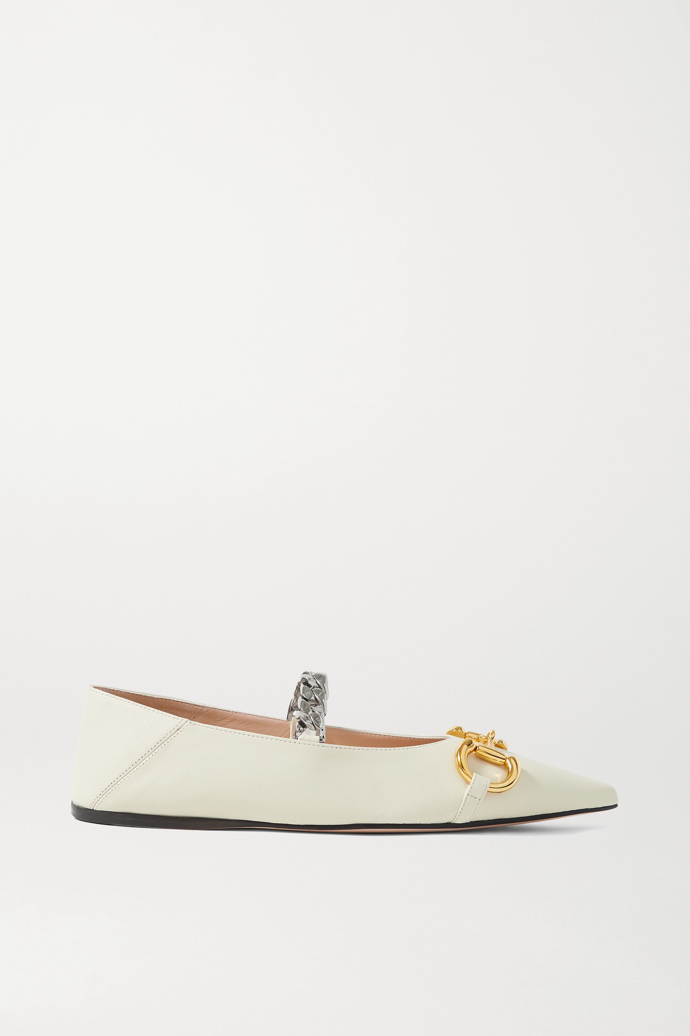 GUCCI - Deva Embellished Leather Collapsible-heel Point-toe Flats - Off-white - IT38.5