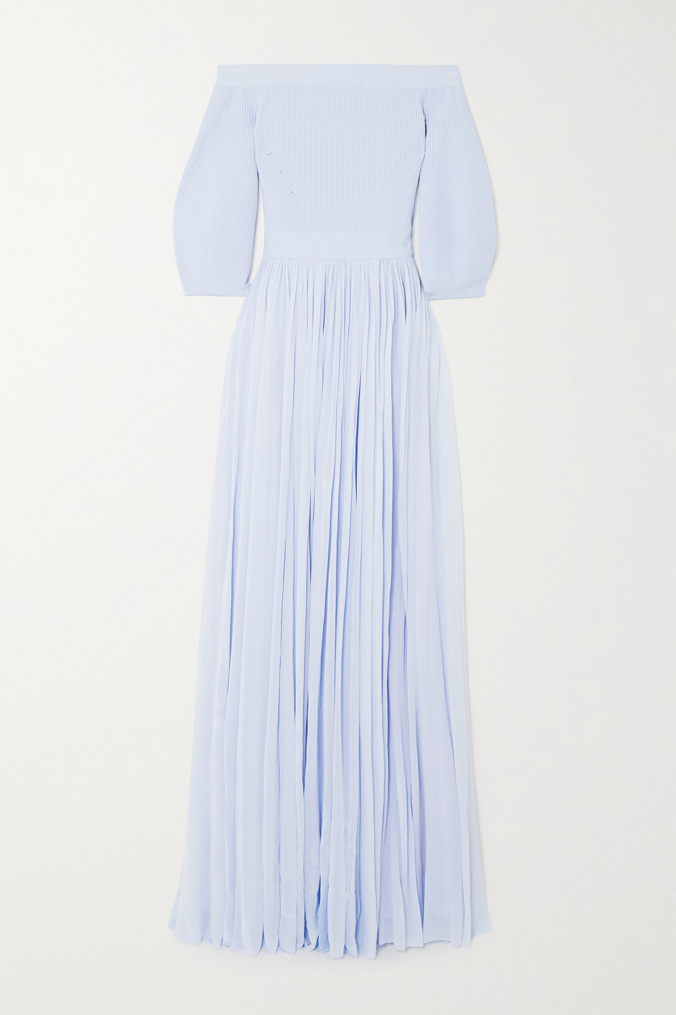 ALEXANDER MCQUEEN - Off-the-shoulder Ribbed-knit And Crepe De Chine Gown - Blue - IT42
