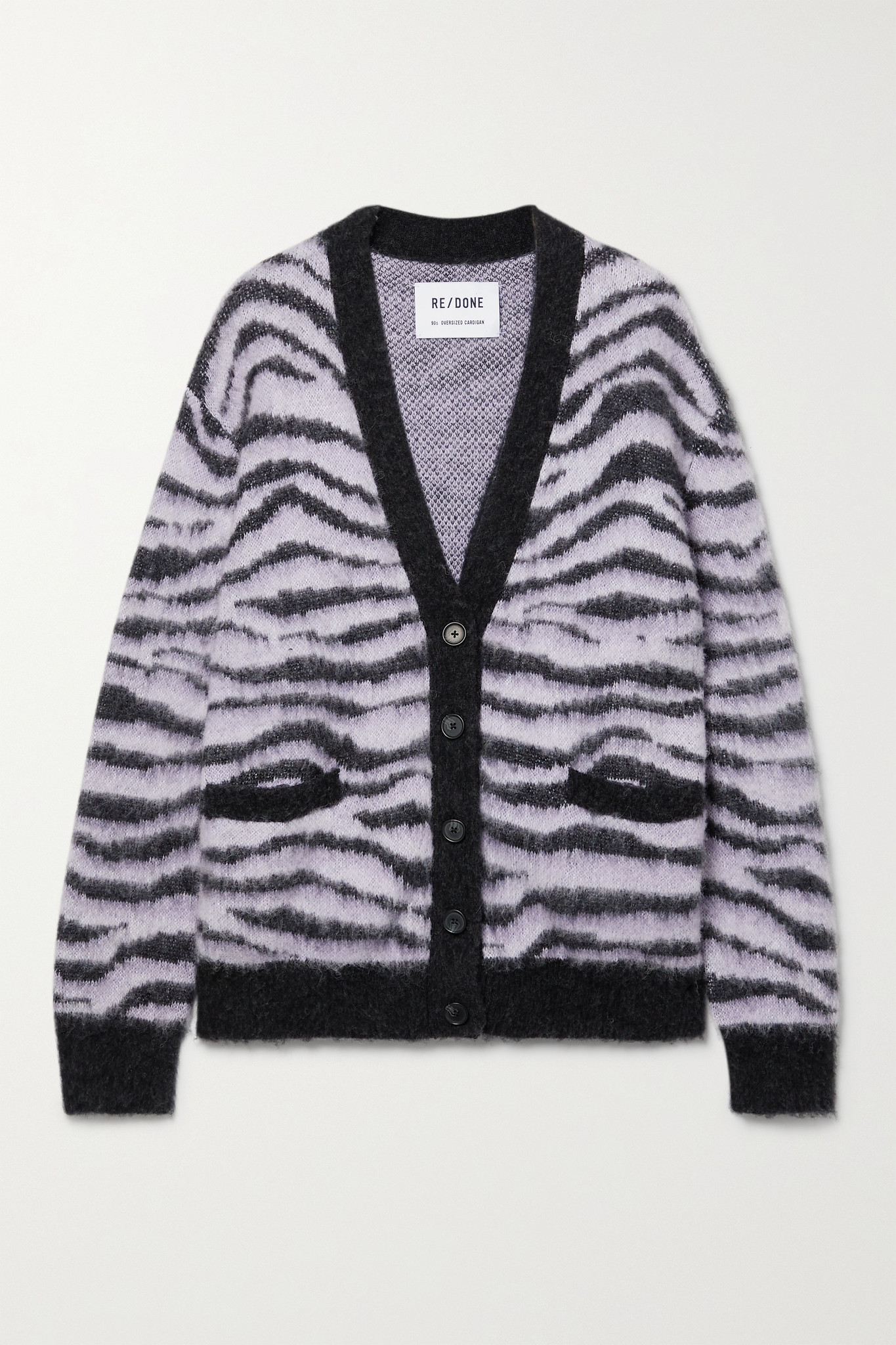 RE/DONE - 90s Tiger-intarsia Cardigan - Purple - small