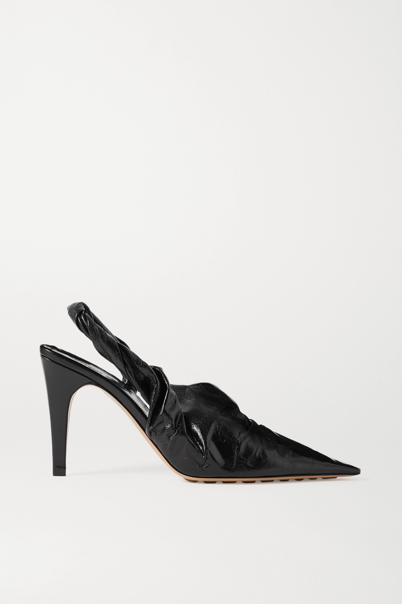 BOTTEGA VENETA - 褶皱亮面皮革露跟高跟鞋 - 黑色 - IT37.5