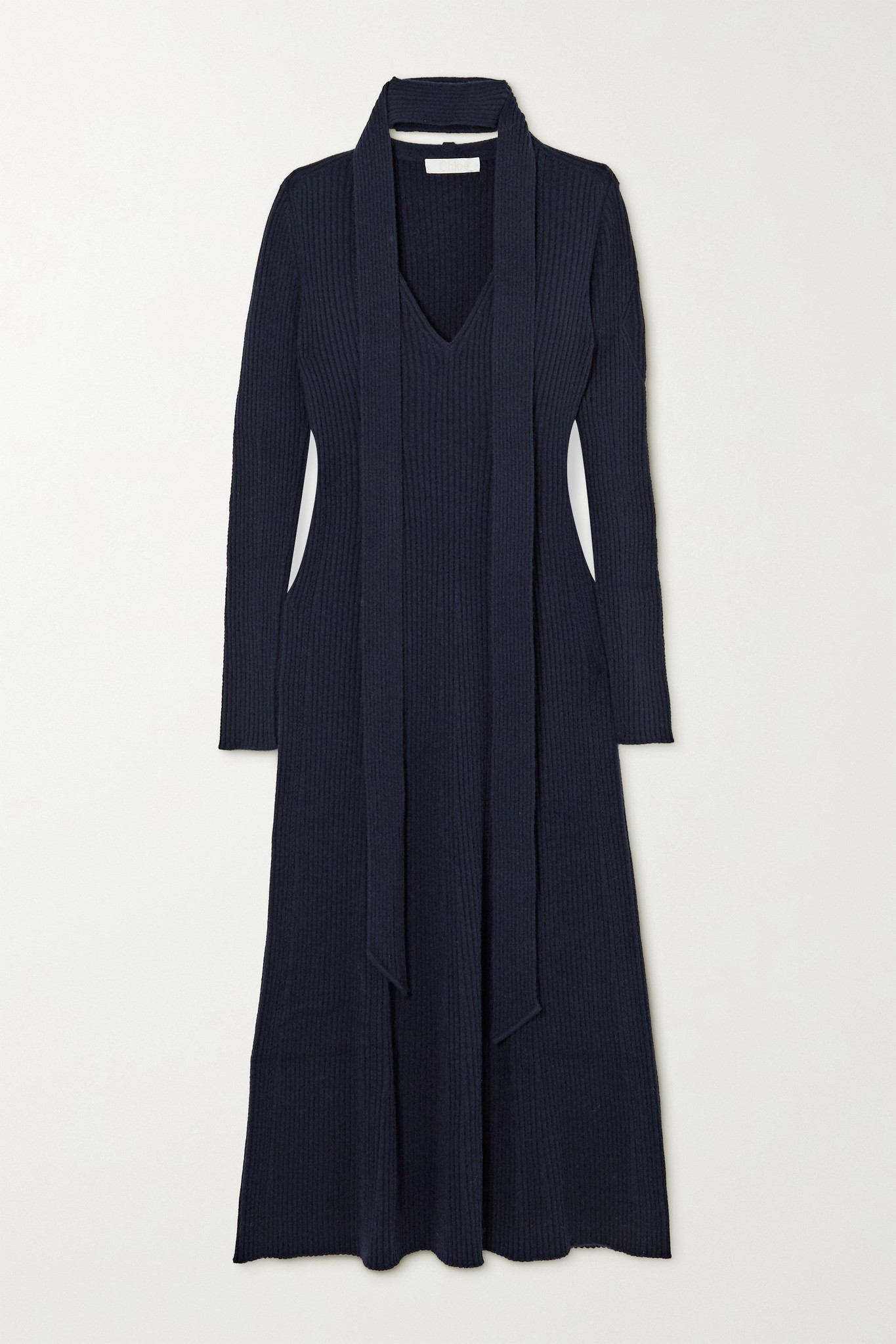CHLOÉ - Tie-neck Ribbed Wool And Silk-blend Midi Dress - Blue - medium