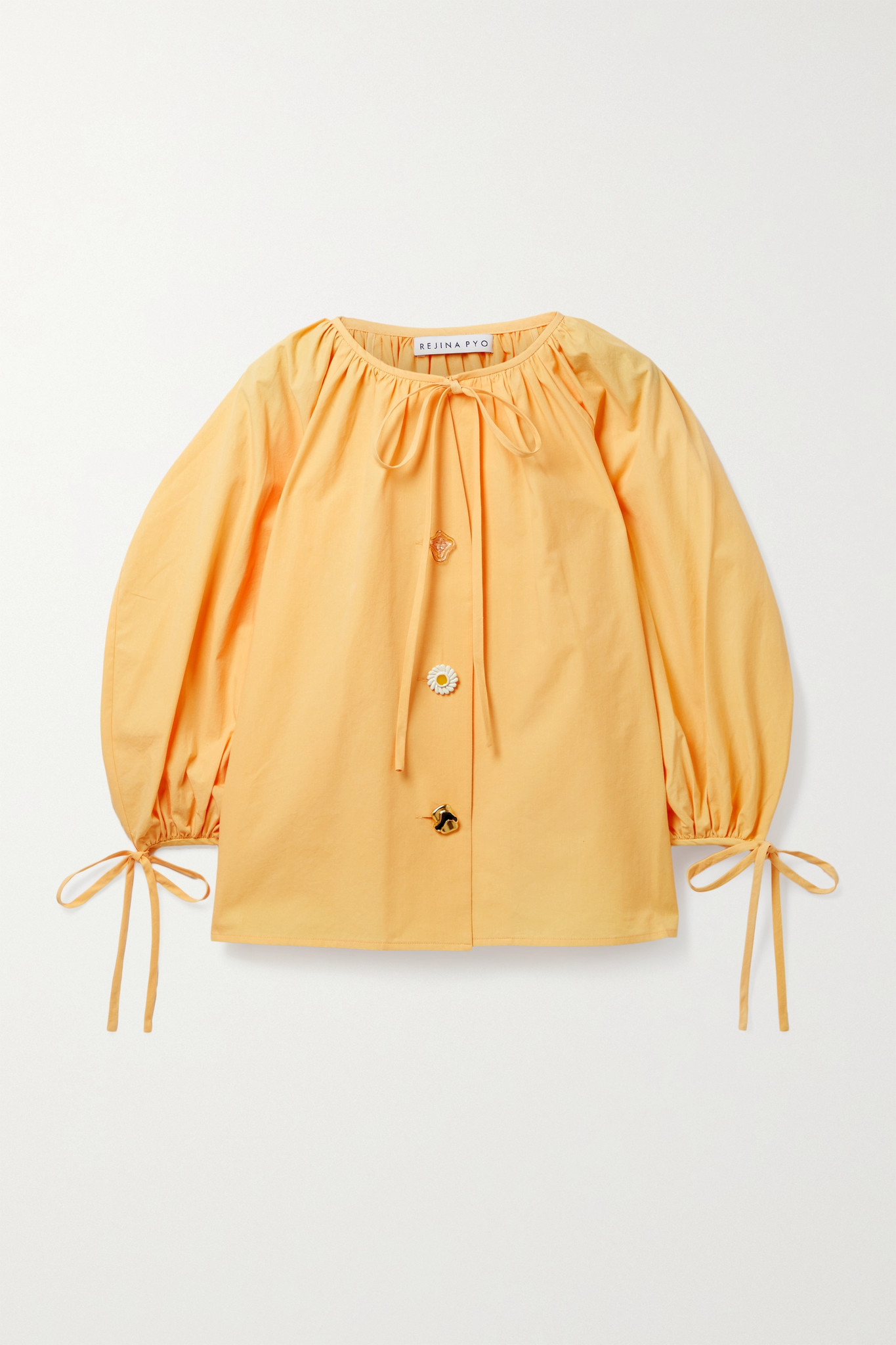 REJINA PYO - Scout Tie-detailed Organic Cotton-poplin Blouse - Yellow - small