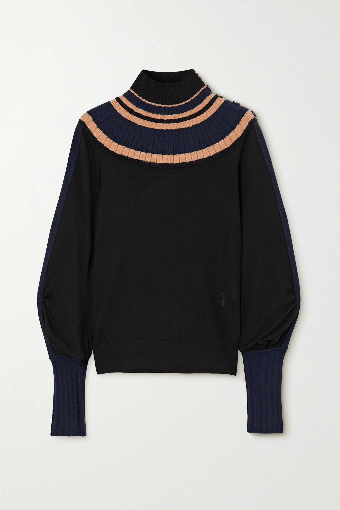 CHLOÉ - Striped Ribbed Wool Turtleneck Sweater - Blue - large