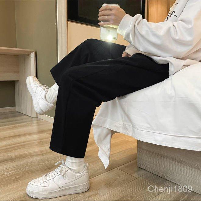 日系九分高腰垂感闊腿褲女學生寬鬆顯瘦休閒百搭春秋直筒褲潮
