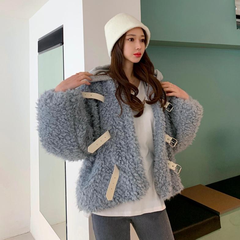外套.韓系素面羊羔毛短版加厚連帽保暖大衣.白鳥麗子