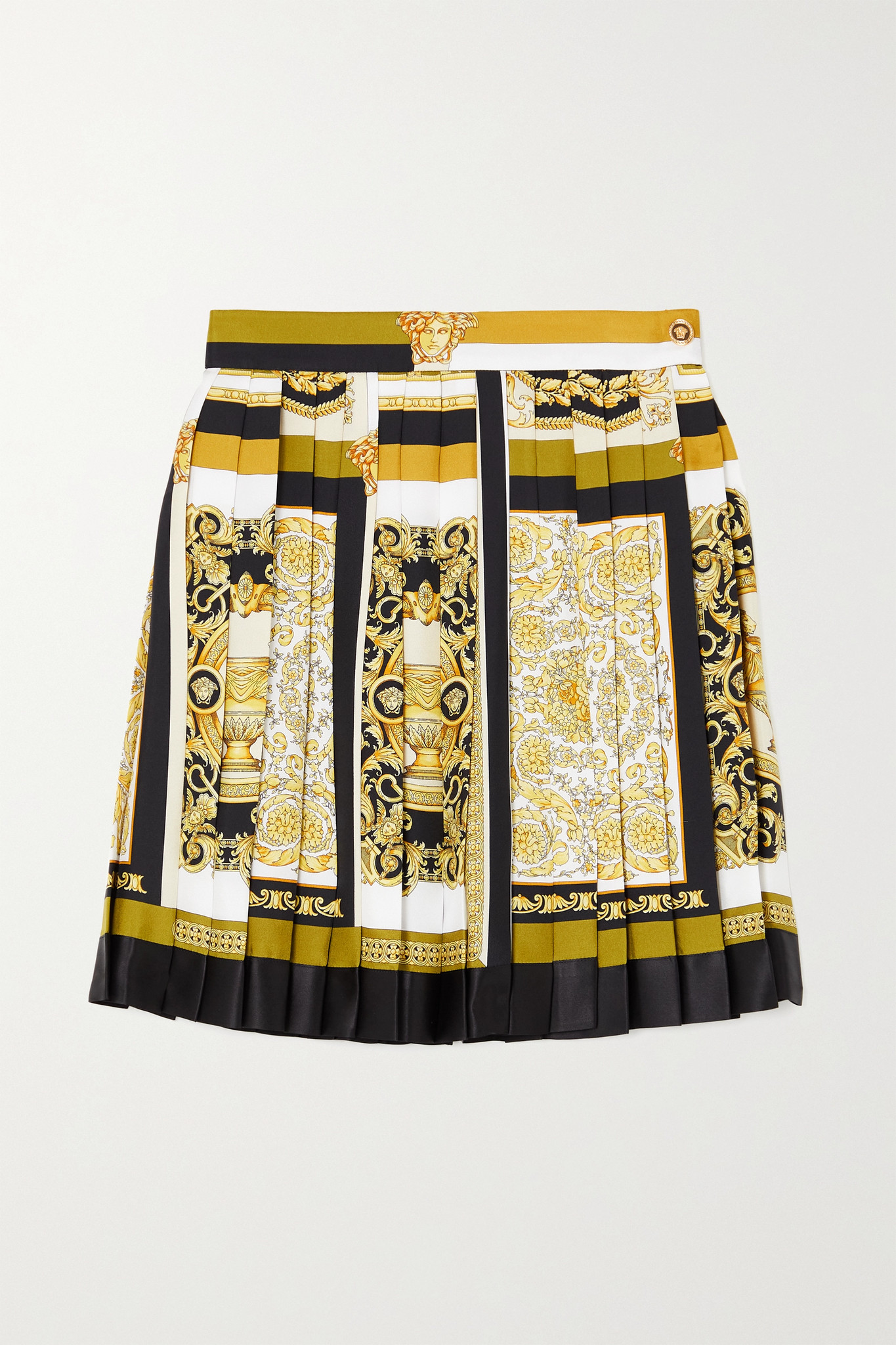 VERSACE - Pleated Printed Silk-twill Mini Skirt - Brown - IT40