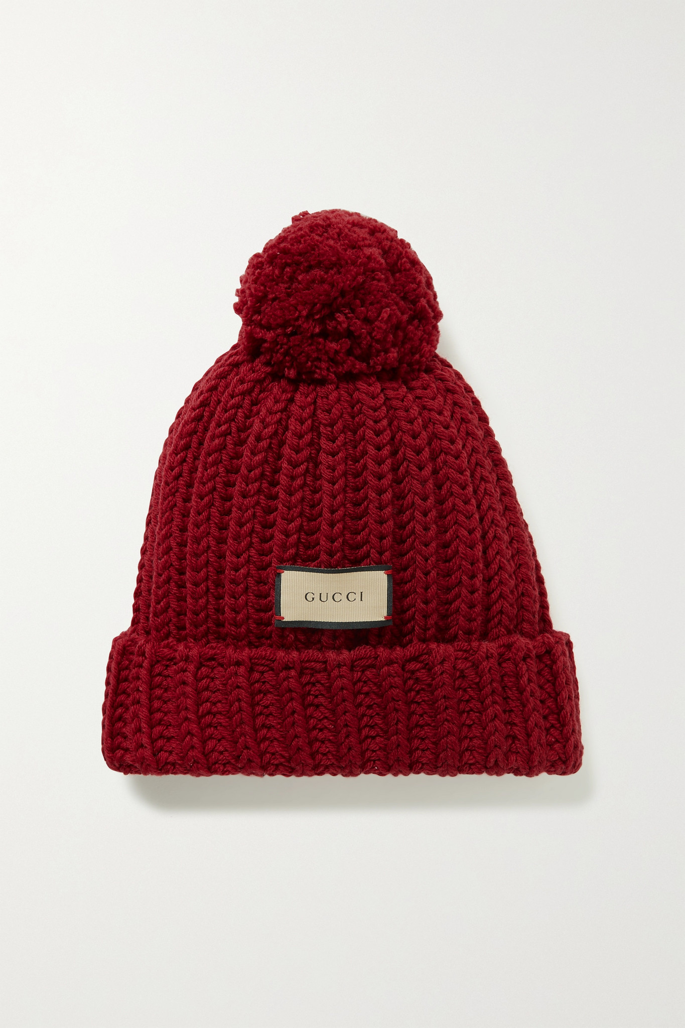 GUCCI - Pompom-embellished Ribbed Wool Beanie - Burgundy - S