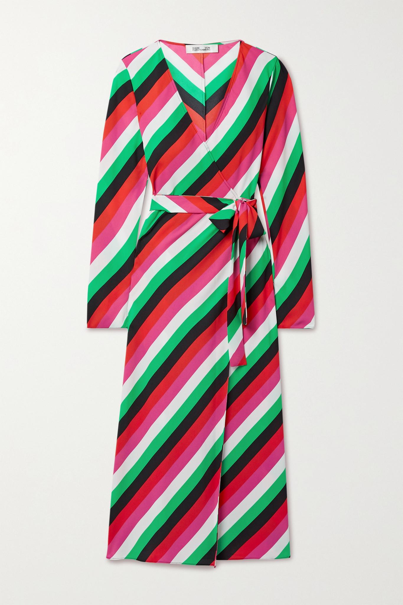 DIANE VON FURSTENBERG - Tilly 条纹绉纱裹身连衣裙 - 绿色 - small