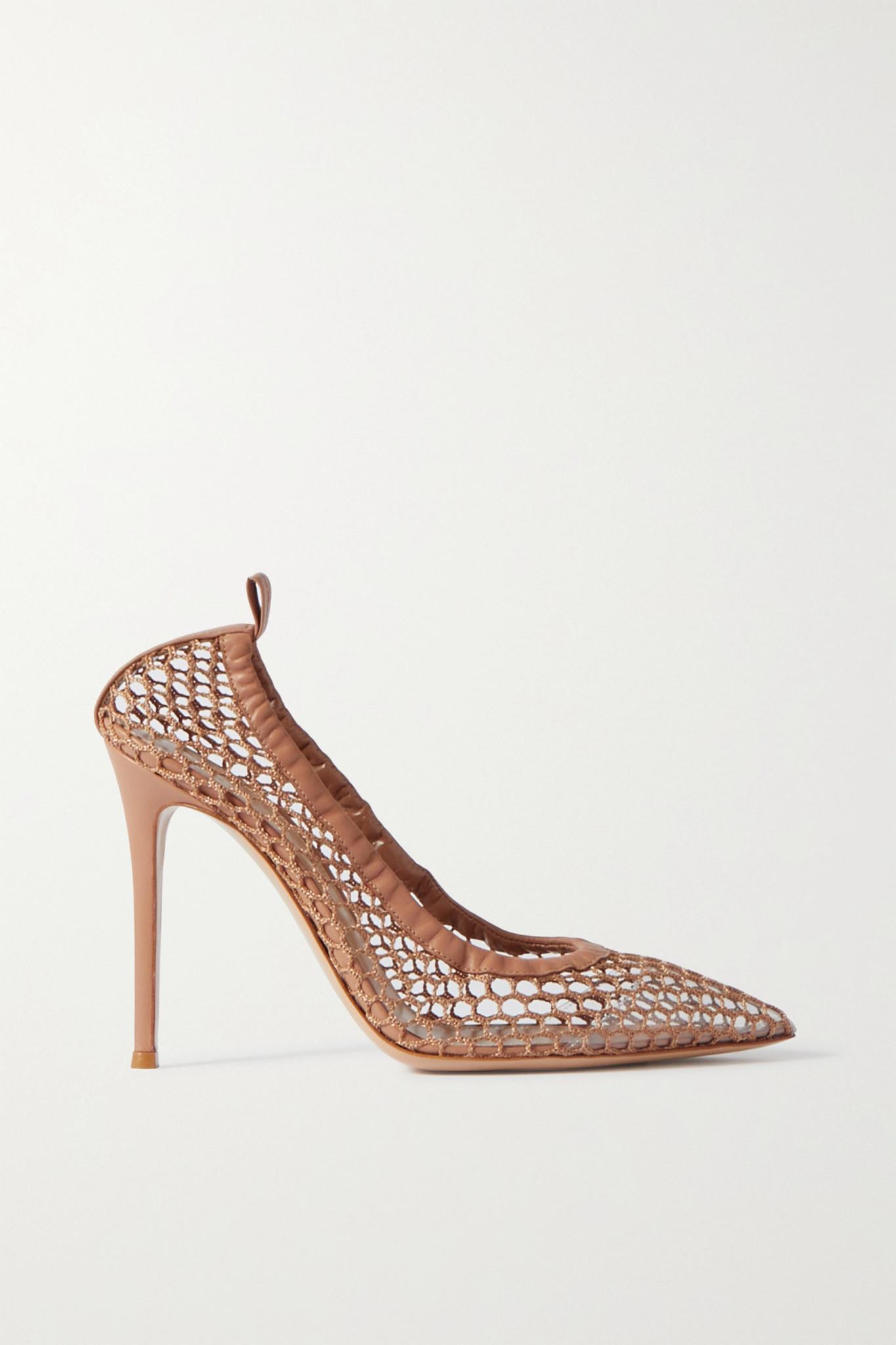 GIANVITO ROSSI - 105 皮革边饰网布高跟鞋 - 中性色 - IT37.5