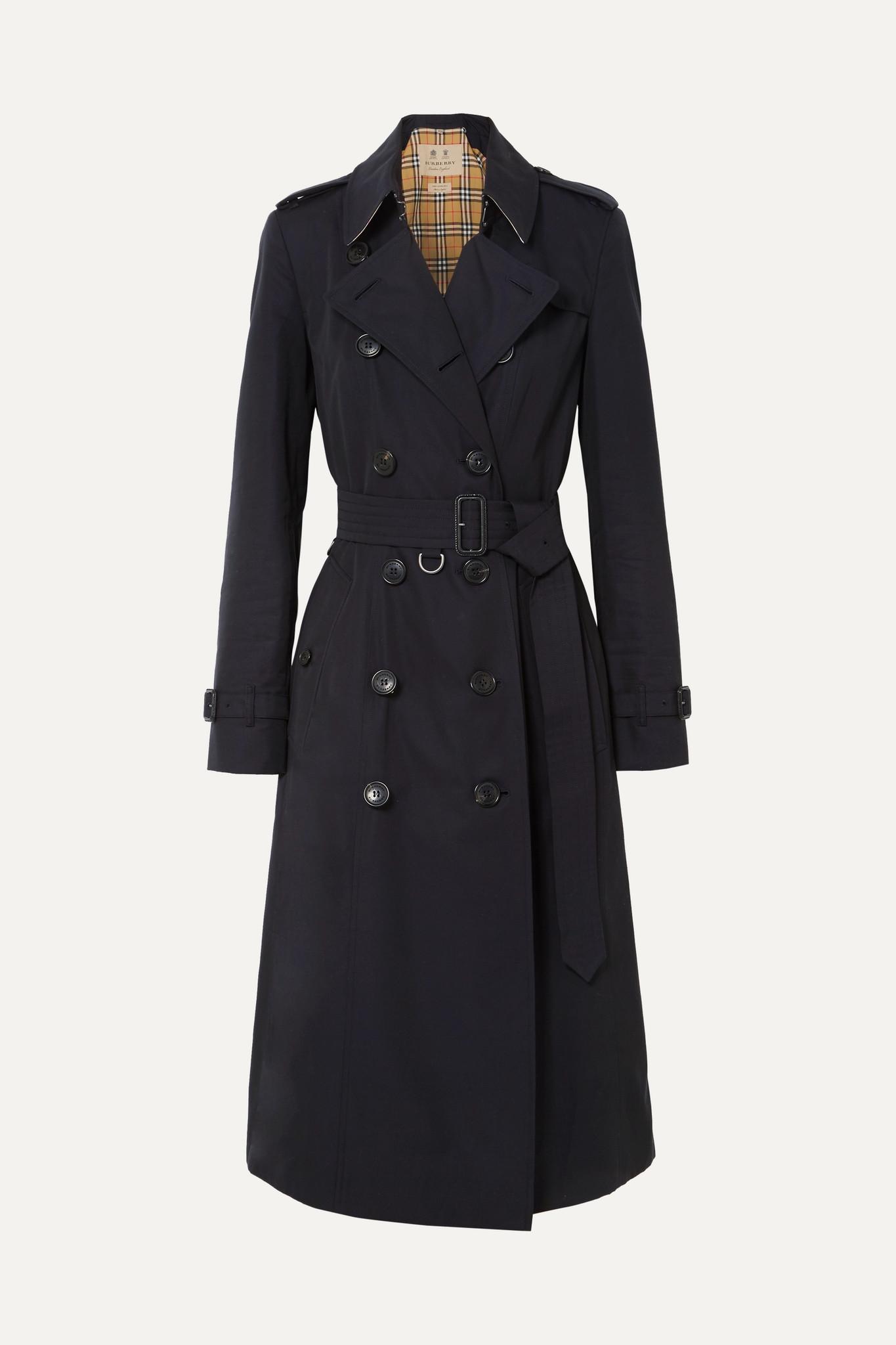 BURBERRY - The Chelsea Long Cotton-gabardine Trench Coat - Blue - UK2