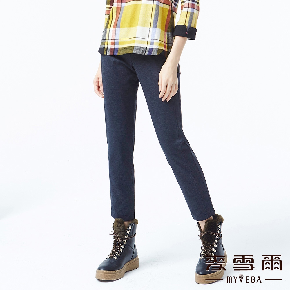 【麥雪爾】純色圓釦配飾九分褲-藍