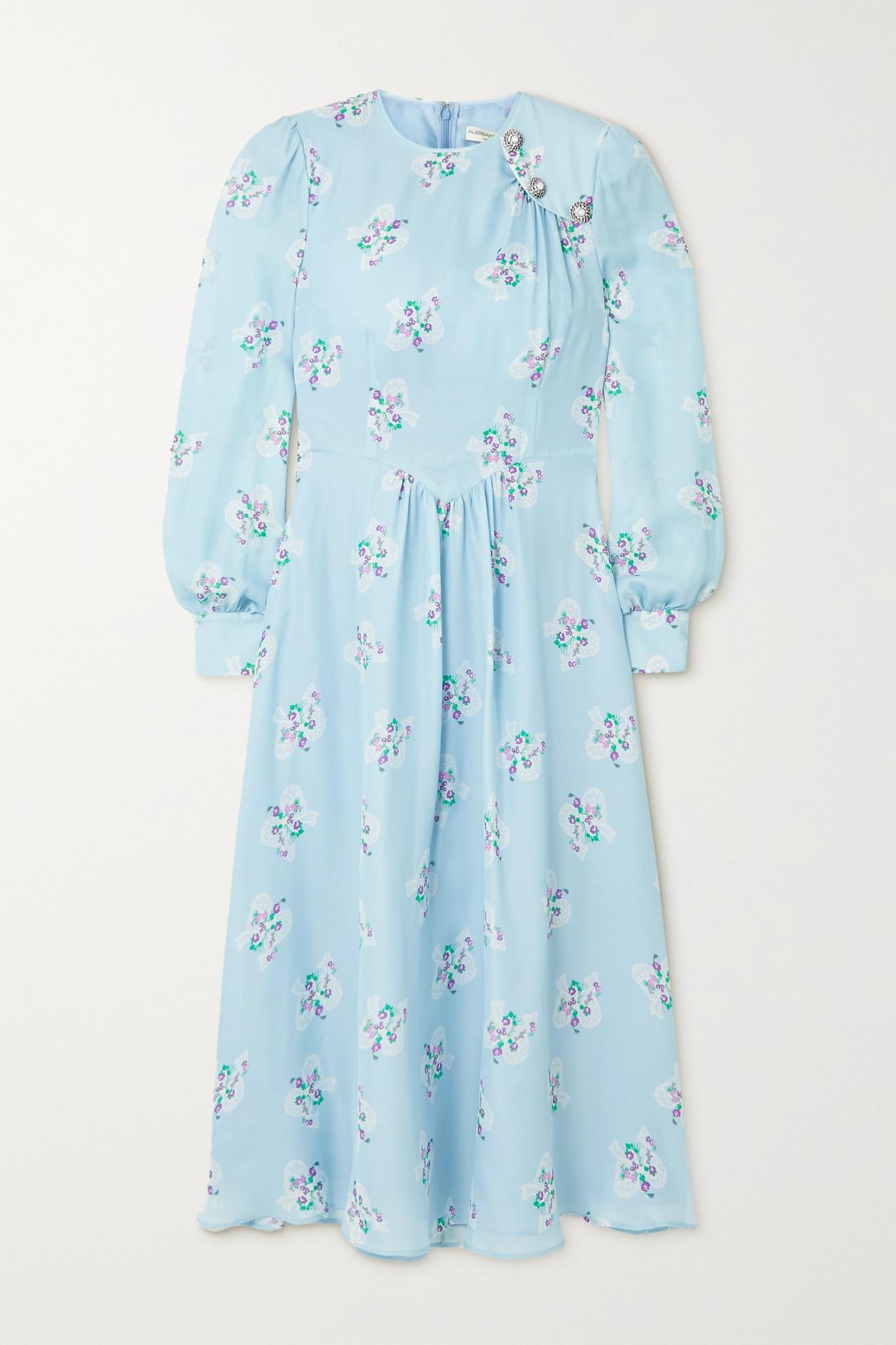 ALESSANDRA RICH - Button-embellished Floral-print Silk Crepe De Chine Midi Dress - Blue - IT36