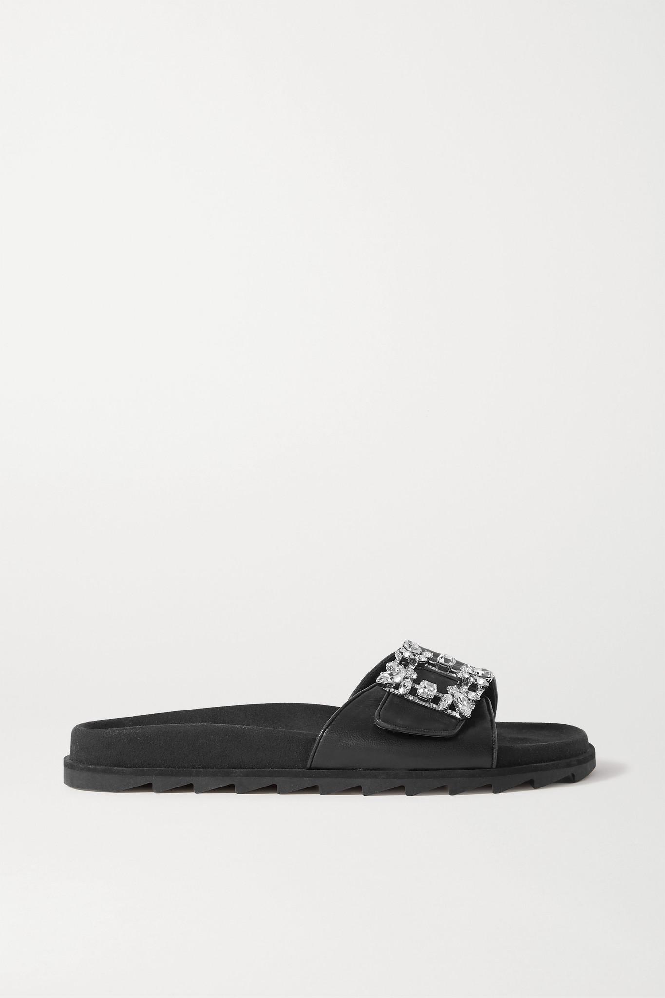 ROGER VIVIER - Slidy 水晶缀饰皮革拖鞋 - 黑色 - IT38