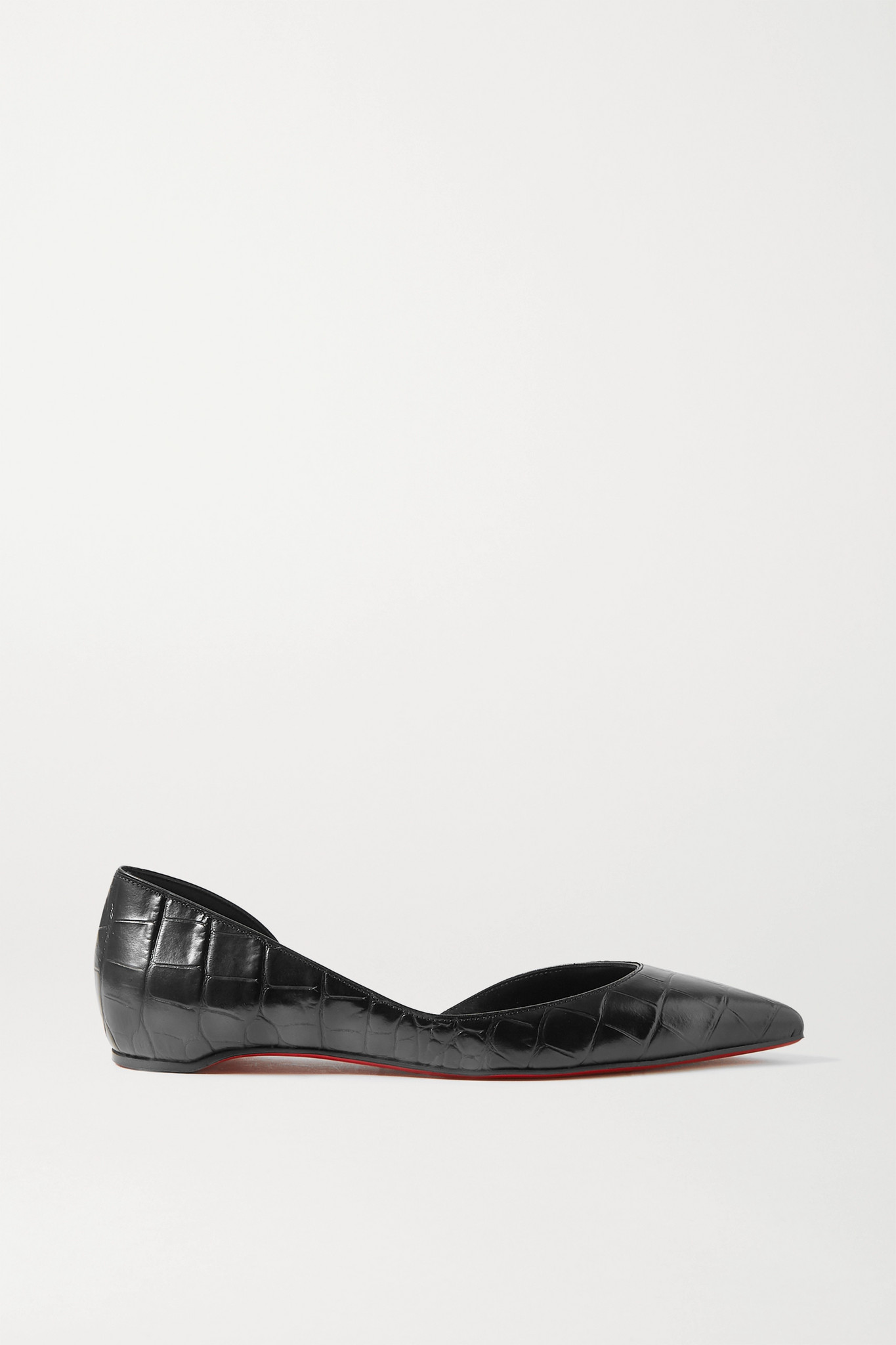 CHRISTIAN LOUBOUTIN - Iriza Croc-effect Leather Point-toe Flats - Black - IT36.5