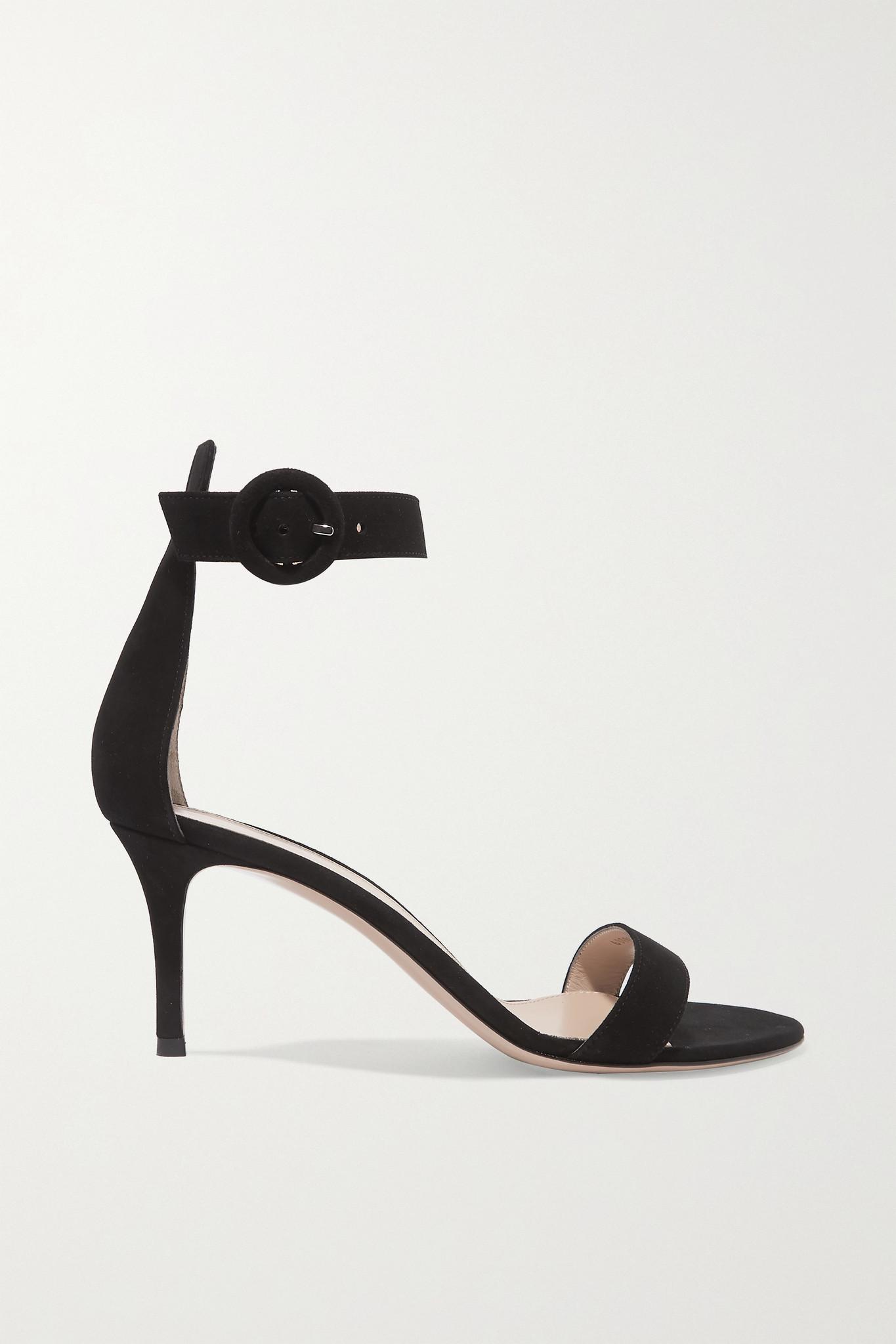 GIANVITO ROSSI - Portofino 70 绒面革凉鞋 - 黑色 - IT34