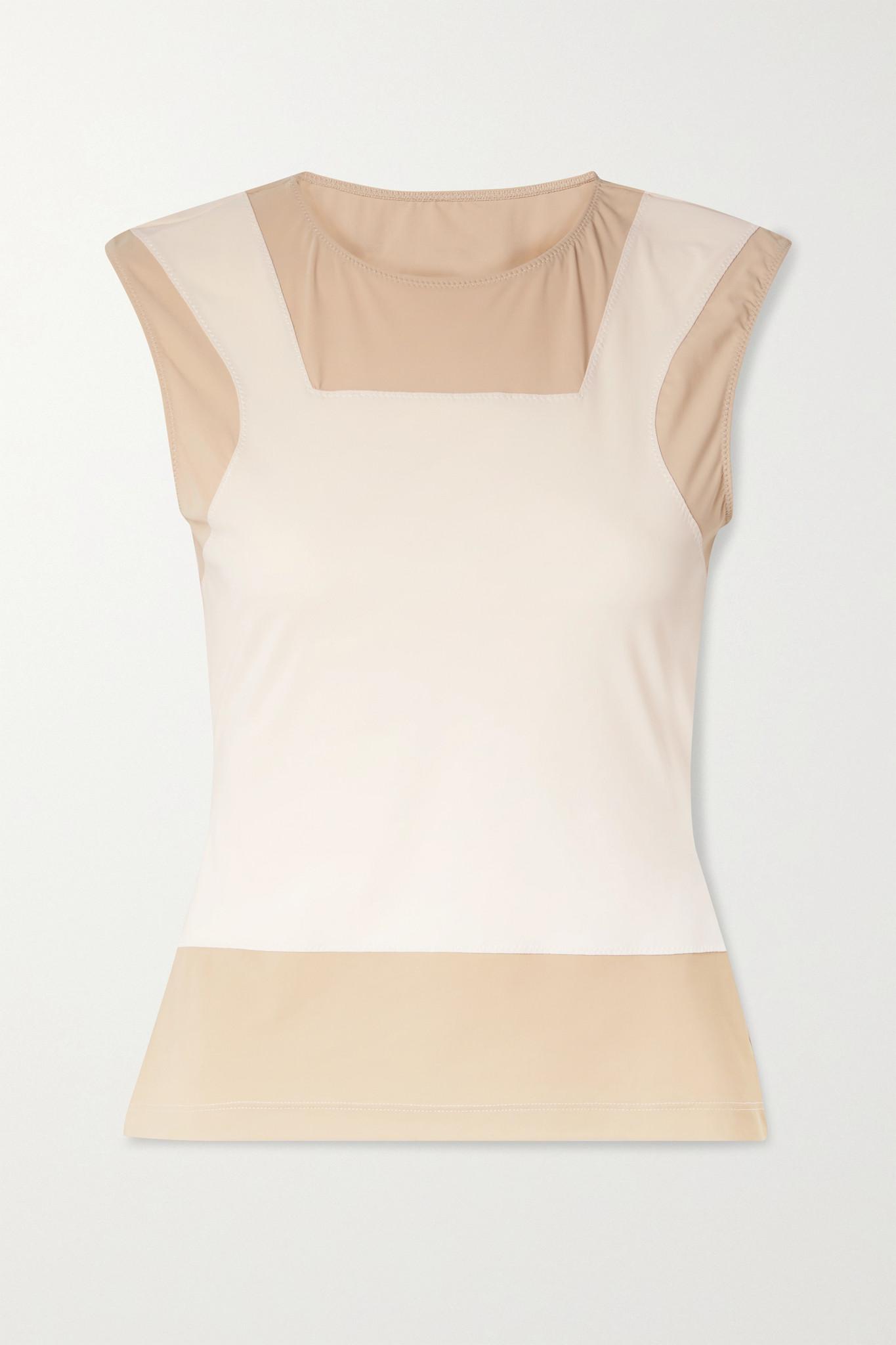 MM6 MAISON MARGIELA - Trompe-l'ail 拼色弹力平纹布上衣 - 白色 - x small