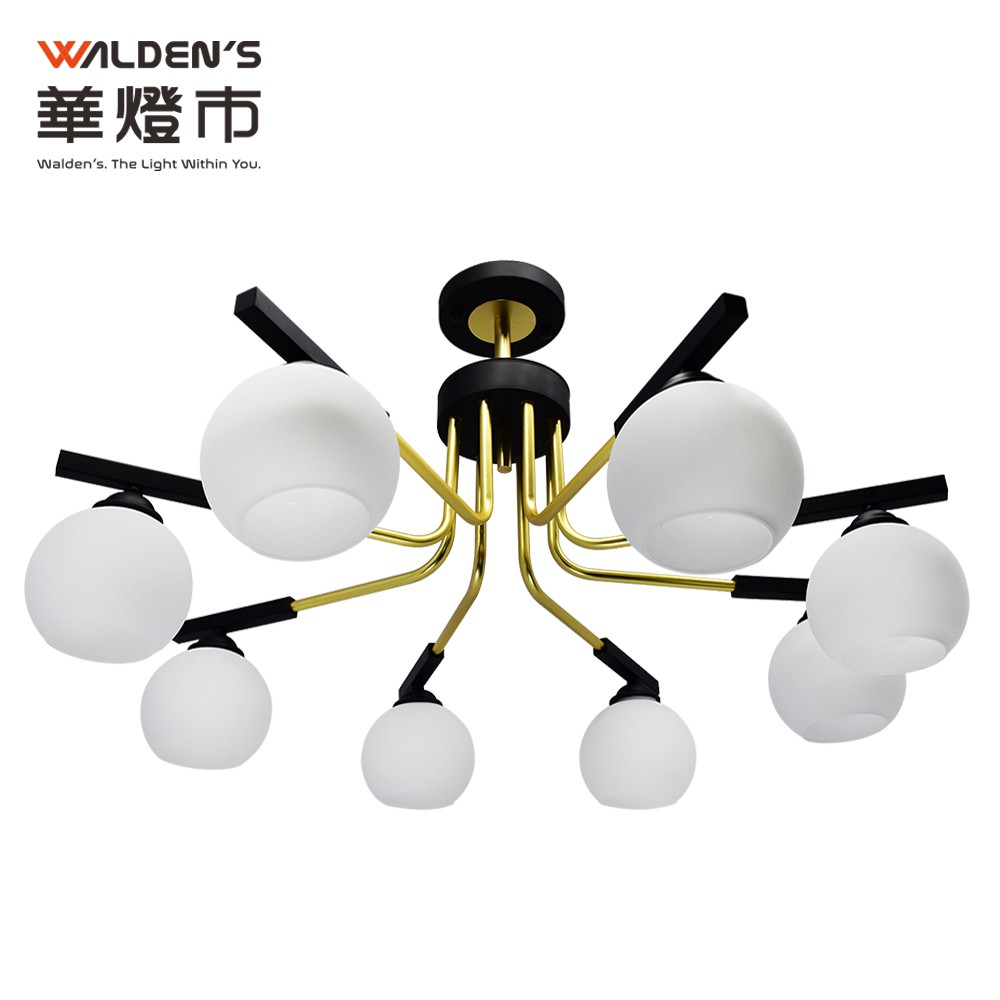 【華燈市】圓形劇場8燈手工玻璃原木半吸頂燈 0300709 燈飾燈具 客廳燈餐廳燈房間燈