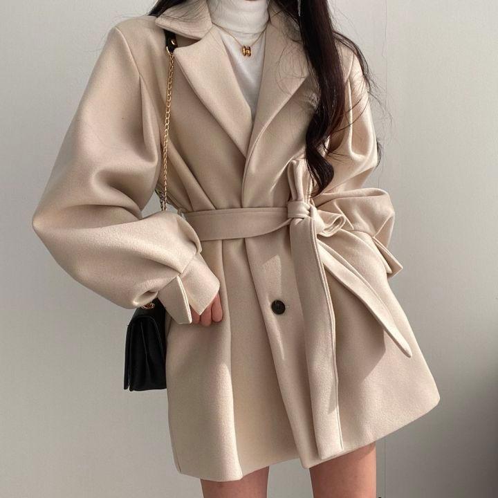 外套.韓風顯瘦翻領公主袖排扣西裝大衣(附腰帶).白鳥麗子