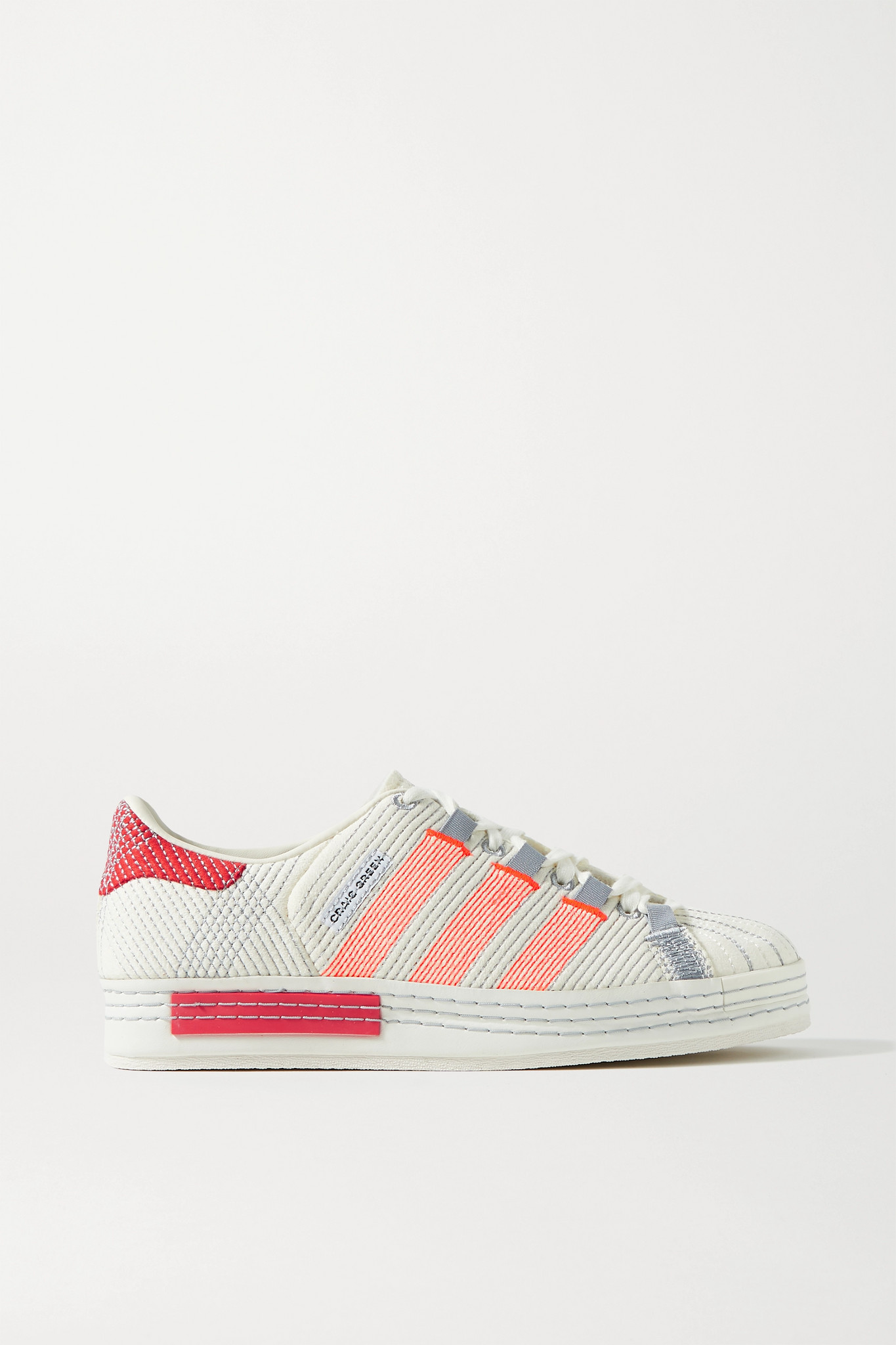 "ADIDAS ORIGINALS - X Craig Green ""superstar"" 刺绣绒面革运动鞋 - 奶油色 - UK7.5"