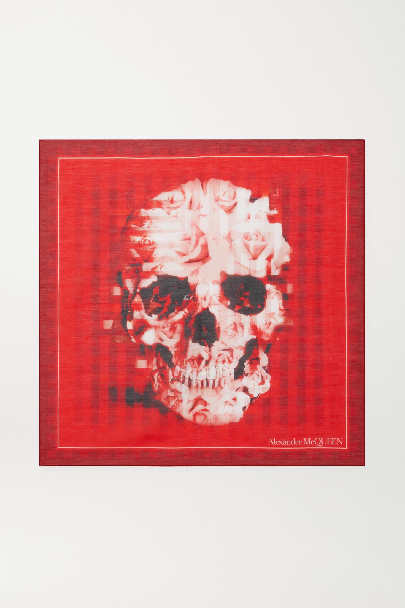 ALEXANDER MCQUEEN - 印花棉丝混纺围巾 - 红色 - one size