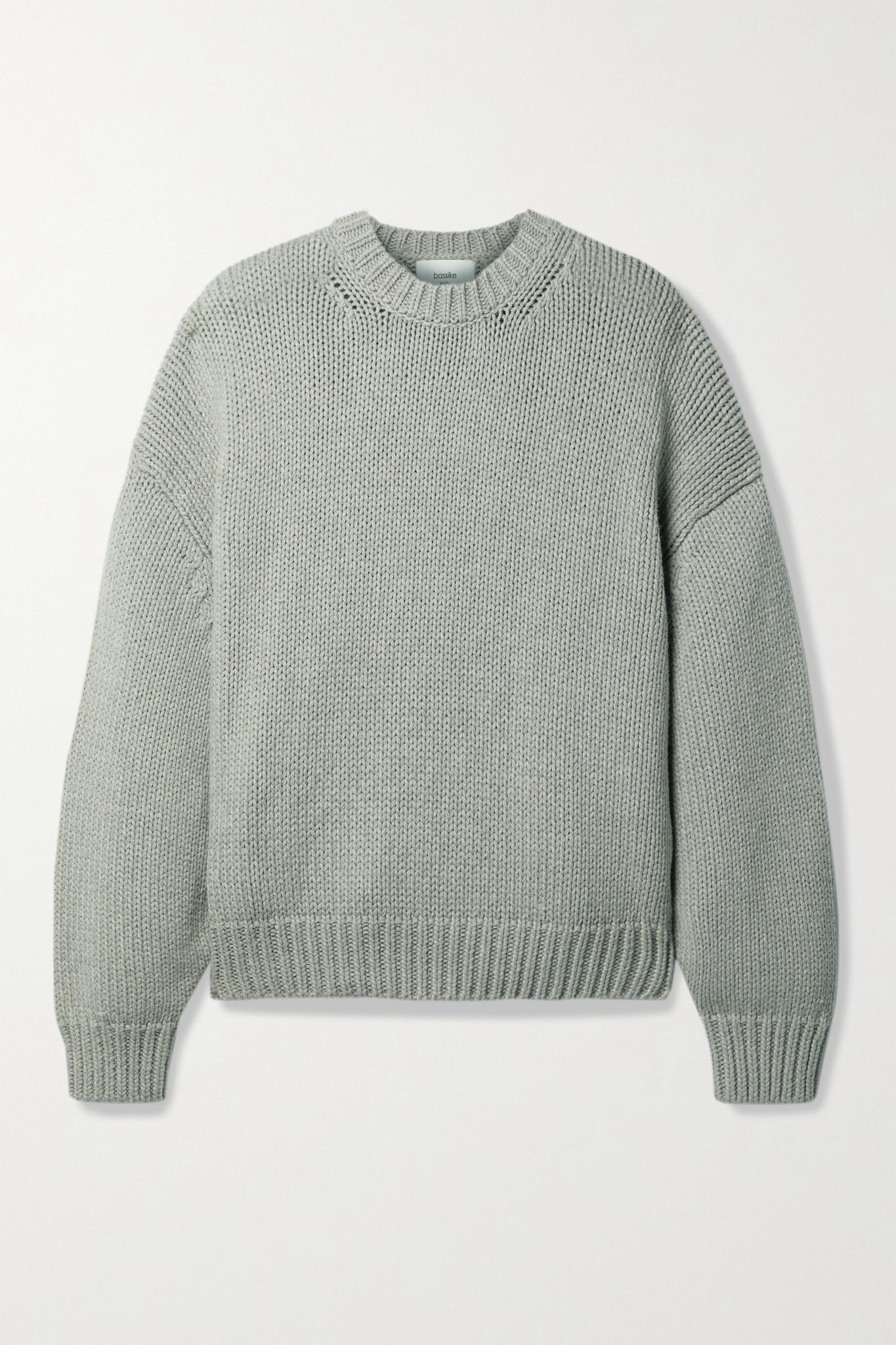 BASSIKE - 大廓形棉质美利奴羊毛混纺毛衣 - 灰色 - 1