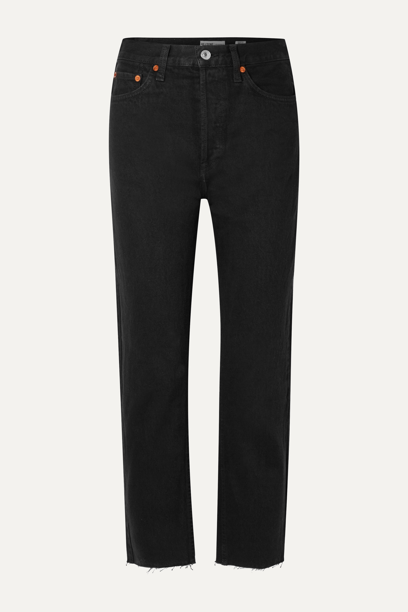 RE/DONE - Rigid Stove Pipe High-rise Straight-leg Jeans - Black - 24