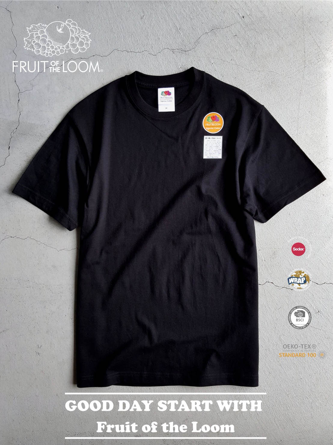 FRUIT OF THE LOOM 水果牌 FL1850 美國純棉 5.3oz 高磅數 短T 素T (黑色BK)