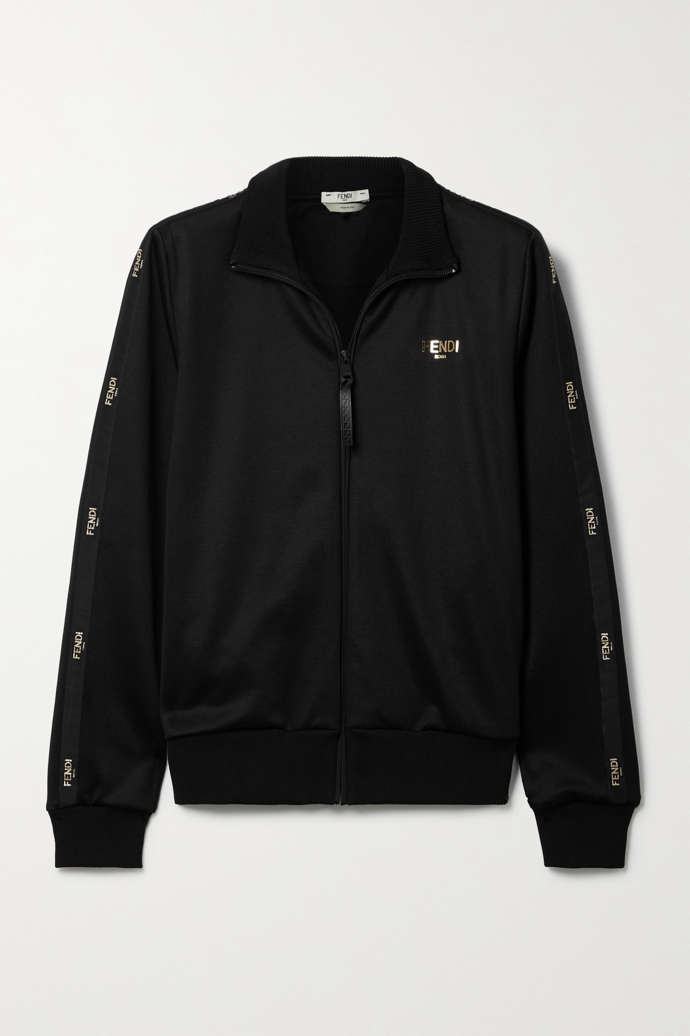 FENDI - Embroidered Satin-trimmed Tech-jersey Track Jacket - Black - IT38