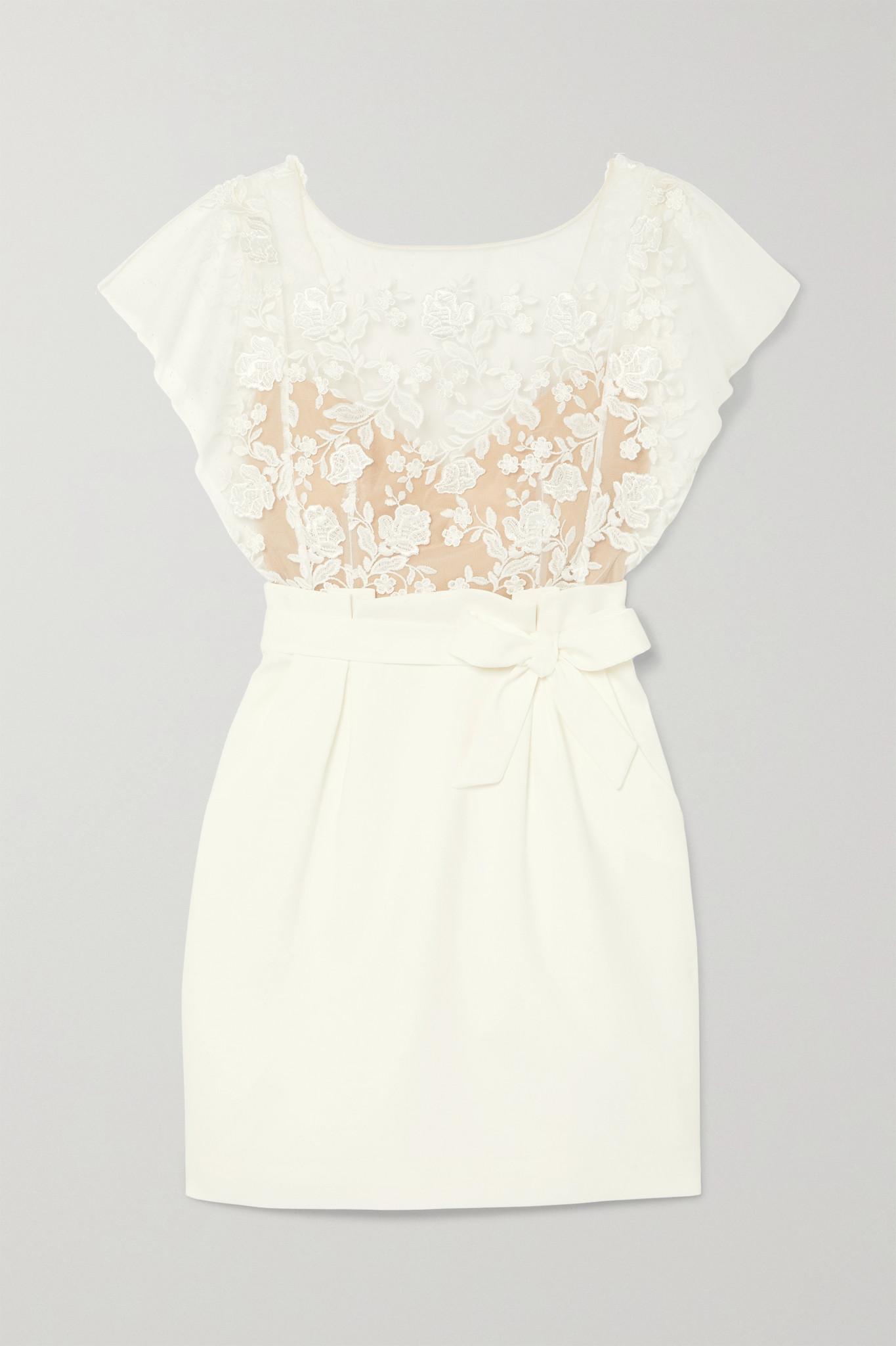 RIME ARODAKY - Baker Embroidered Tulle And Crepe Mini Dress - White - FR40