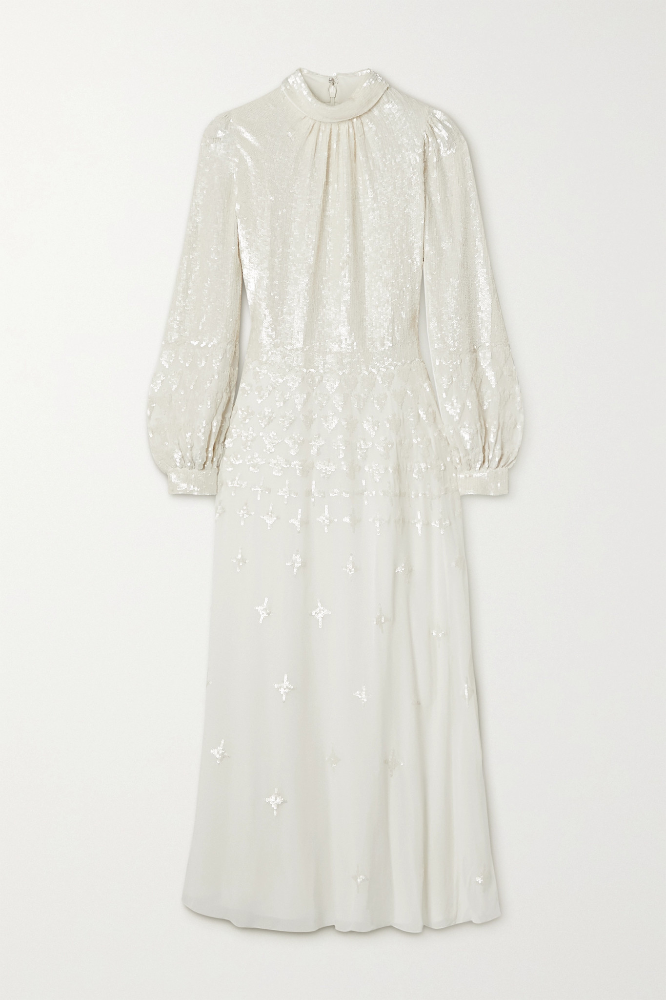 TEMPERLEY LONDON - Mirella Sequin-embellished Crepe De Chine Midi Dress - Off-white - UK12