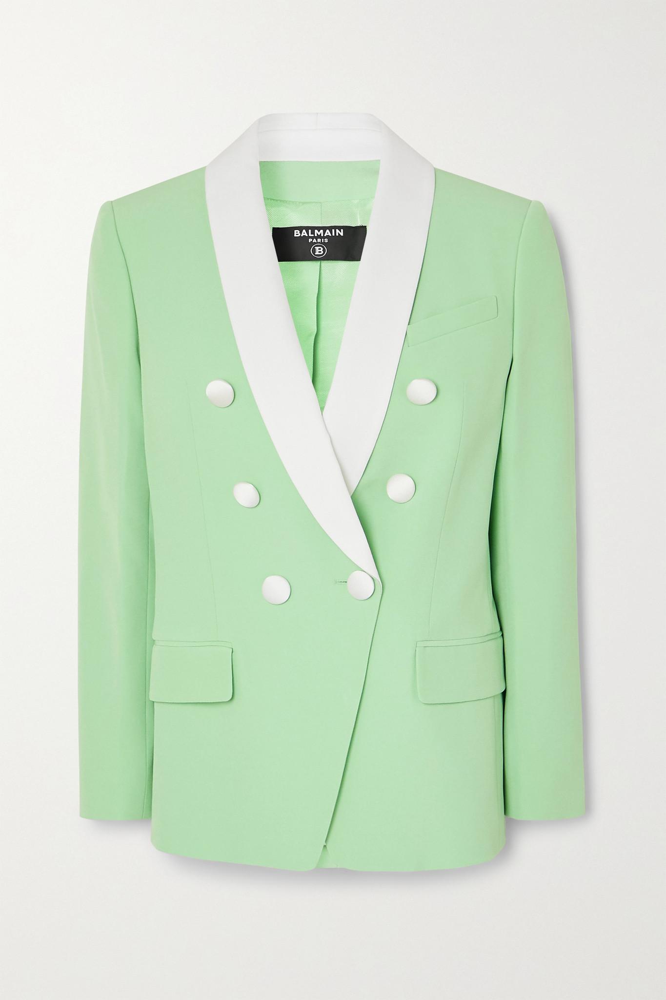 BALMAIN - Double-breasted Two-tone Crepe Blazer - Green - FR38