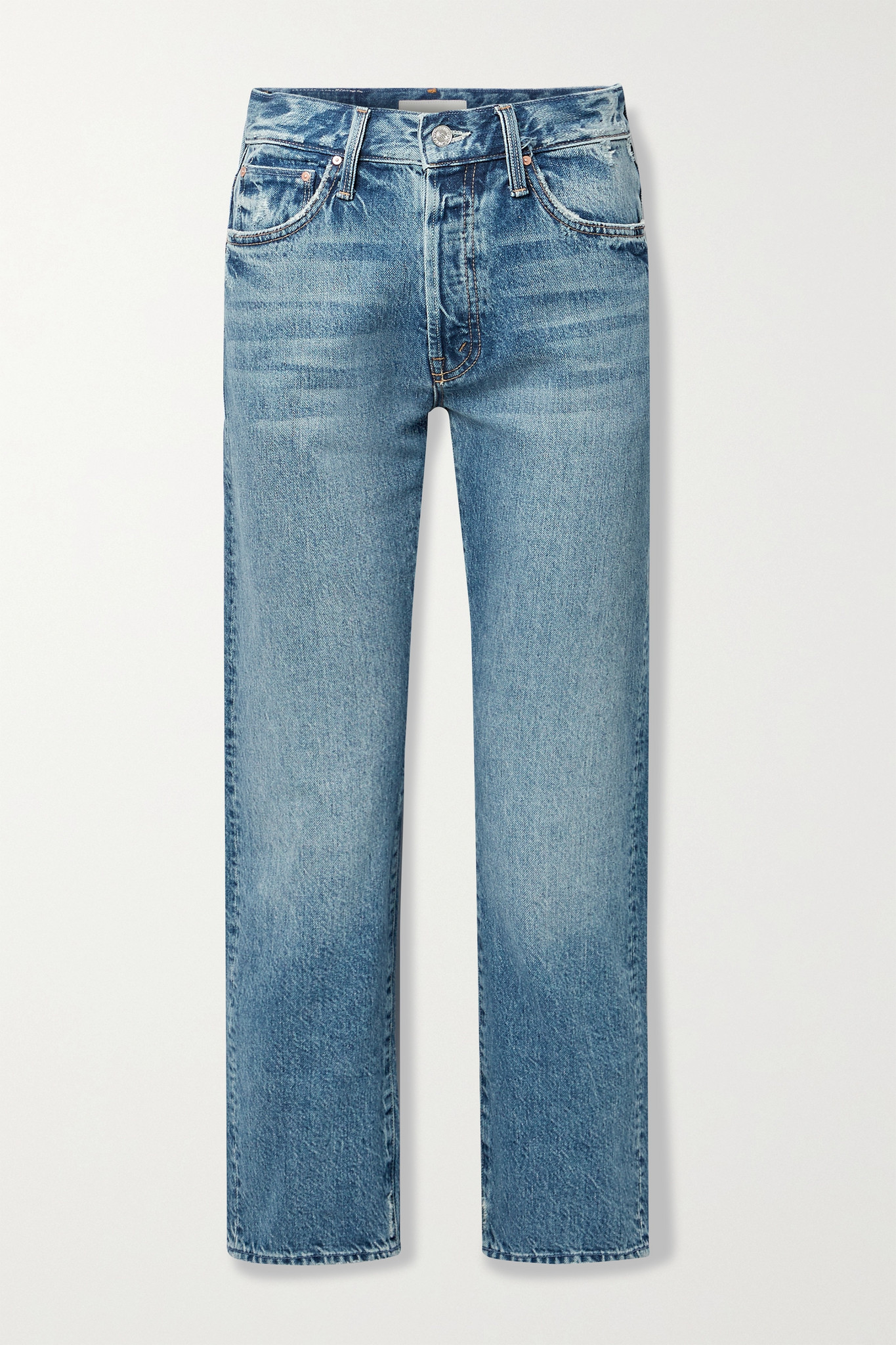 MOTHER - Hiker Hover Distressed High-rise Straight-leg Jeans - Blue - 23
