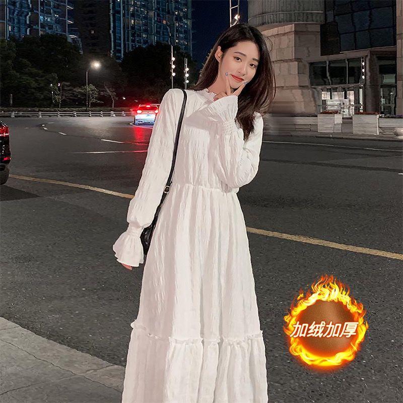 【泡泡星】秋冬氣質溫柔風法式收腰顯瘦內搭打底加絨加厚白色連衣裙仙女長裙