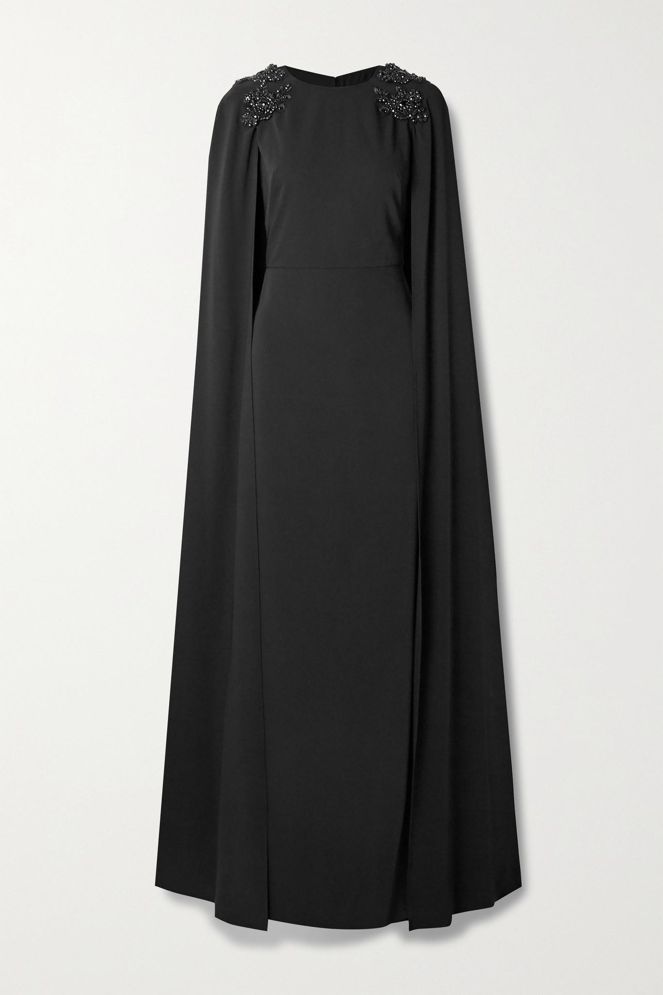 MARCHESA NOTTE - 披风效果带缀饰绉纱礼服 - 黑色 - US8
