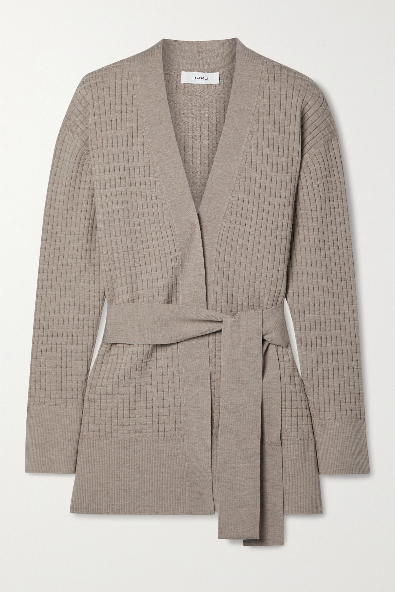 CASASOLA - Como Belted Waffe-knit Wool-blend Cardigan - Neutrals - IT36