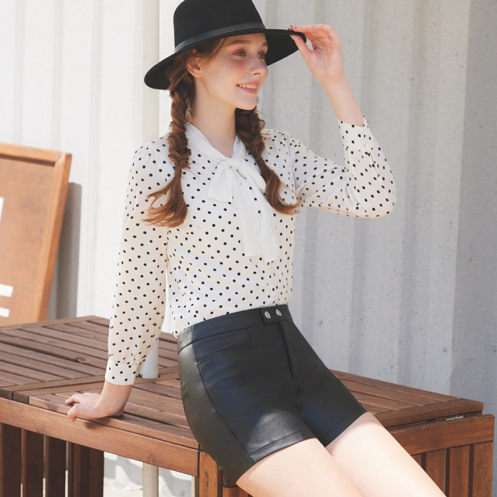 niceioi時髦造型金屬釦皮革短褲