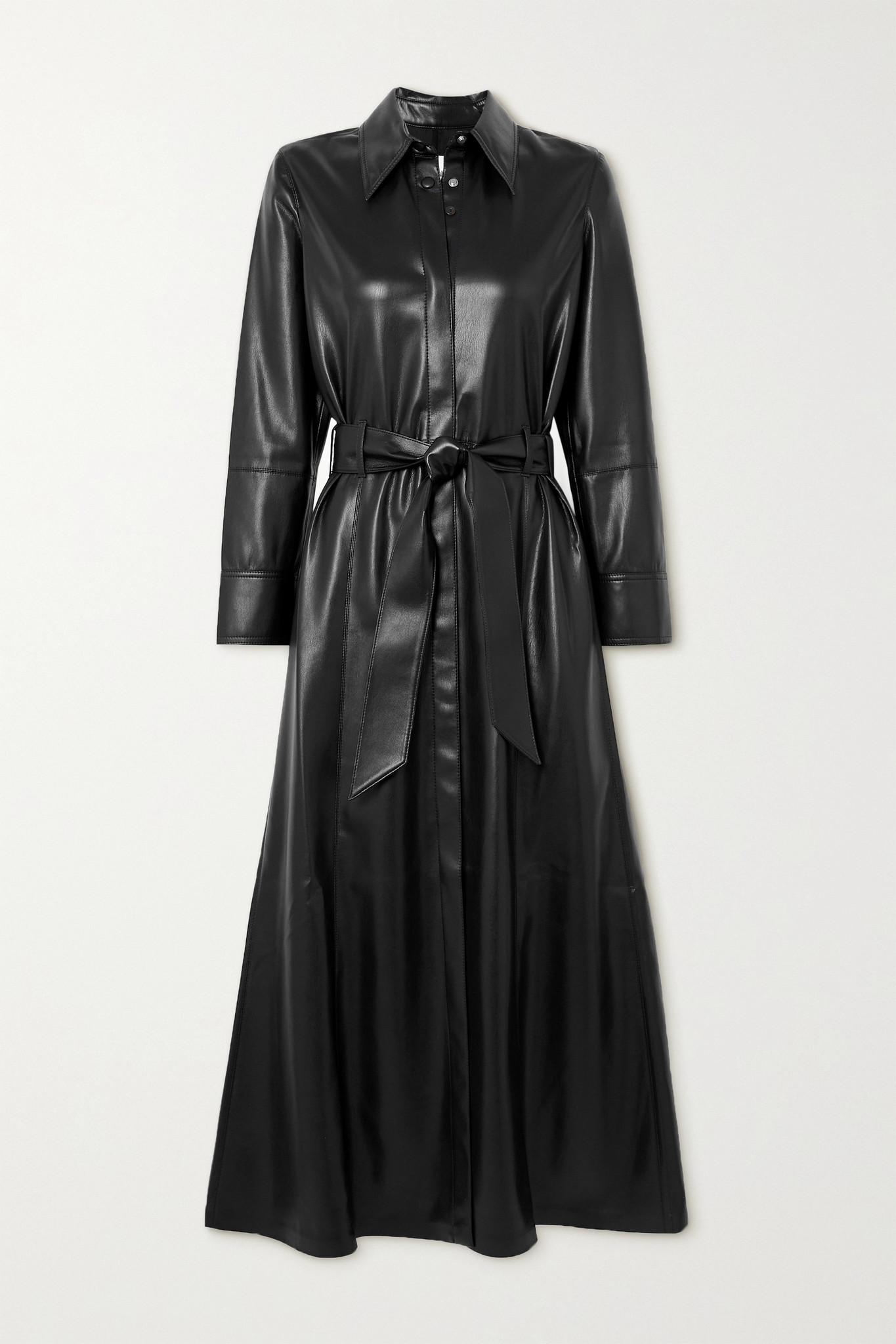 NANUSHKA - Asayo 配腰带纯素皮革衬衫式中长连衣裙 - 黑色 - x small