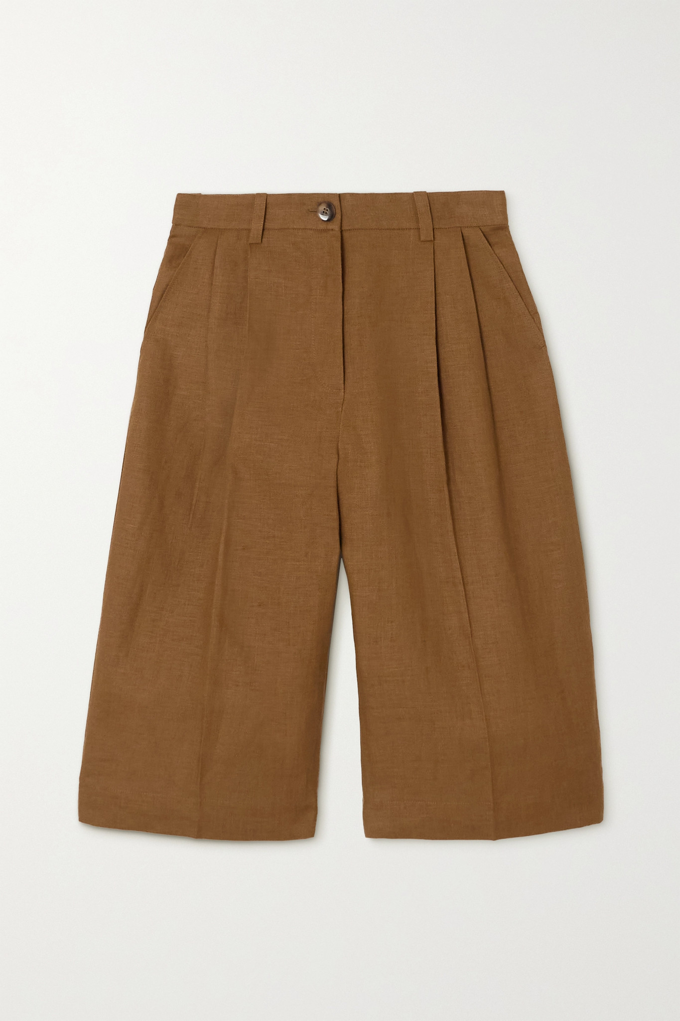 BOUGUESSA - Meera 褶裥亚麻短裤 - 棕色 - x small