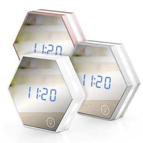 USB充電式 六角形可調光鏡子鬧鐘玫瑰金