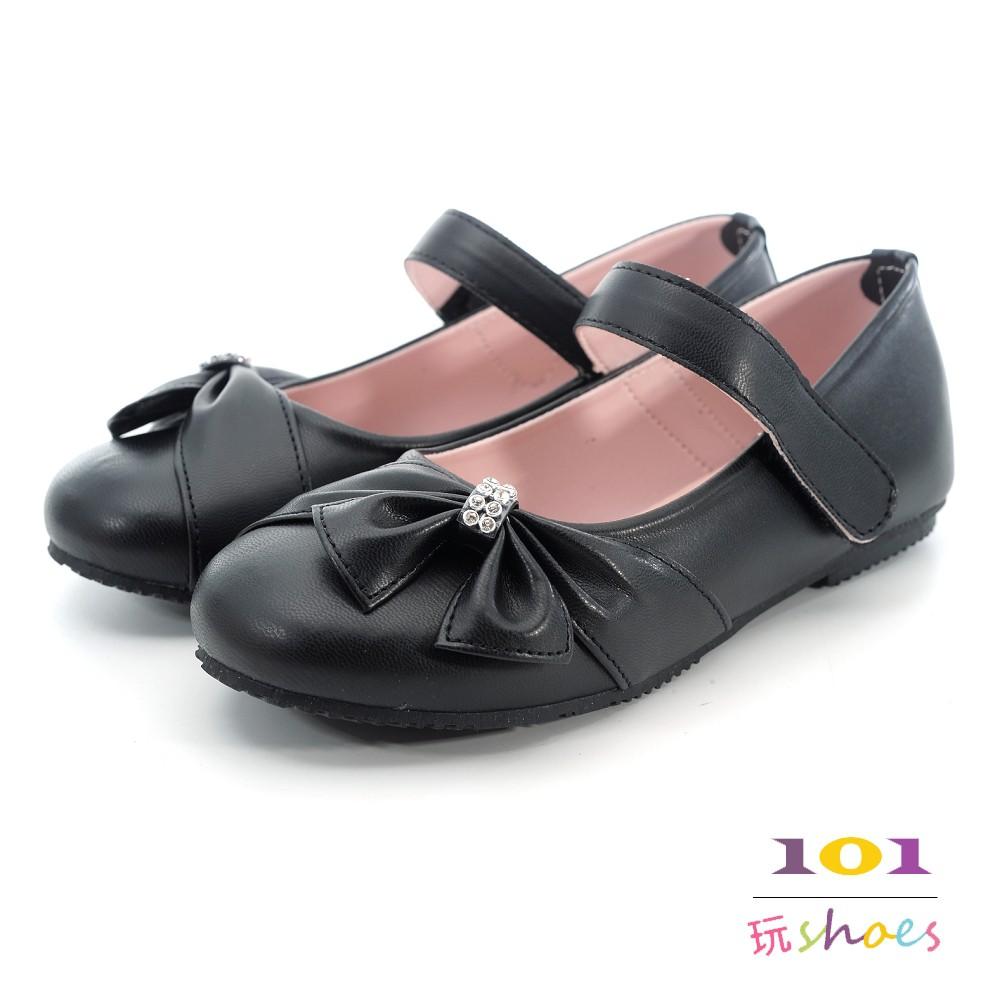 【101玩SHOES】MIT美型中大童蝴蝶美鑽可愛公主鞋-白色/粉色/黑色-31-36碼-表演必備款,花童/畢業季