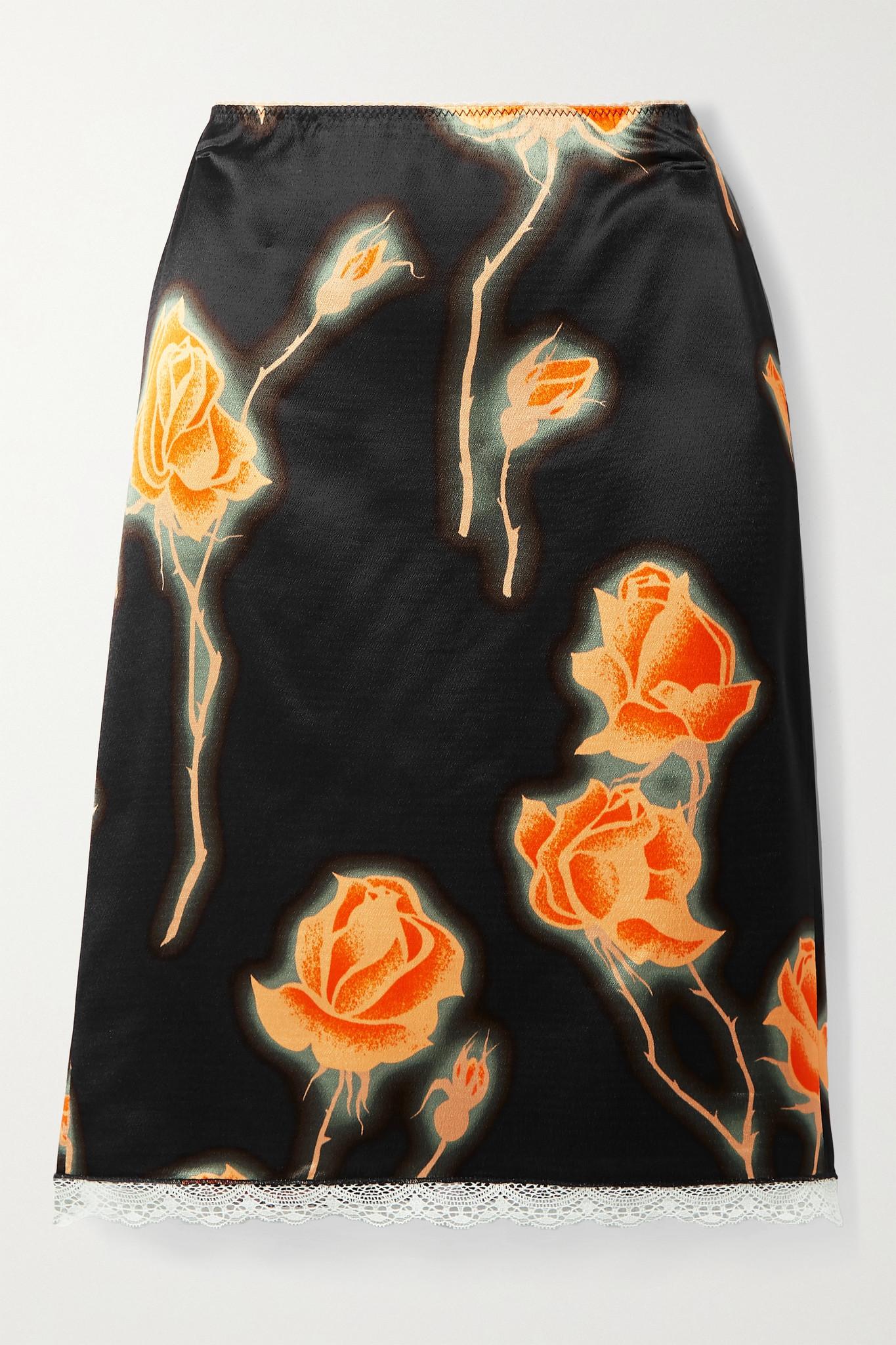Meryll Rogge - 蕾丝边饰花卉印花缎布半身裙 - 黑色 - FR40