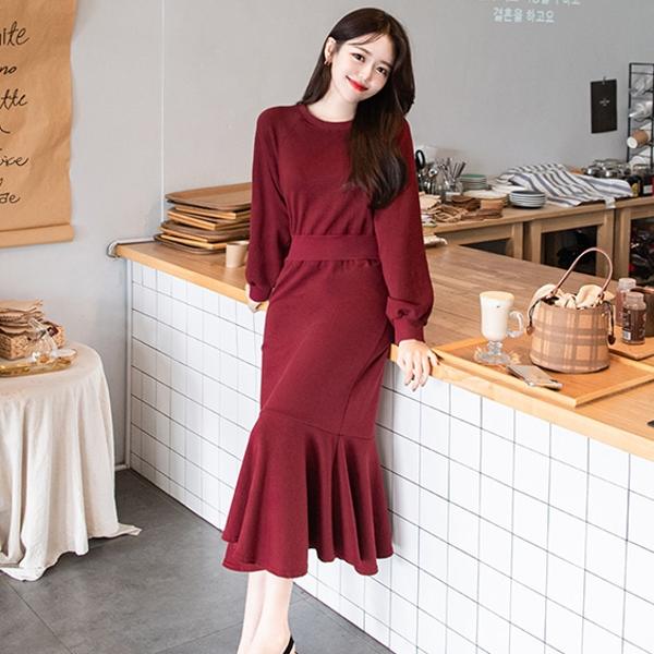 韓國製.百搭素面棉質收腰長版魚尾長袖洋裝.白鳥麗子