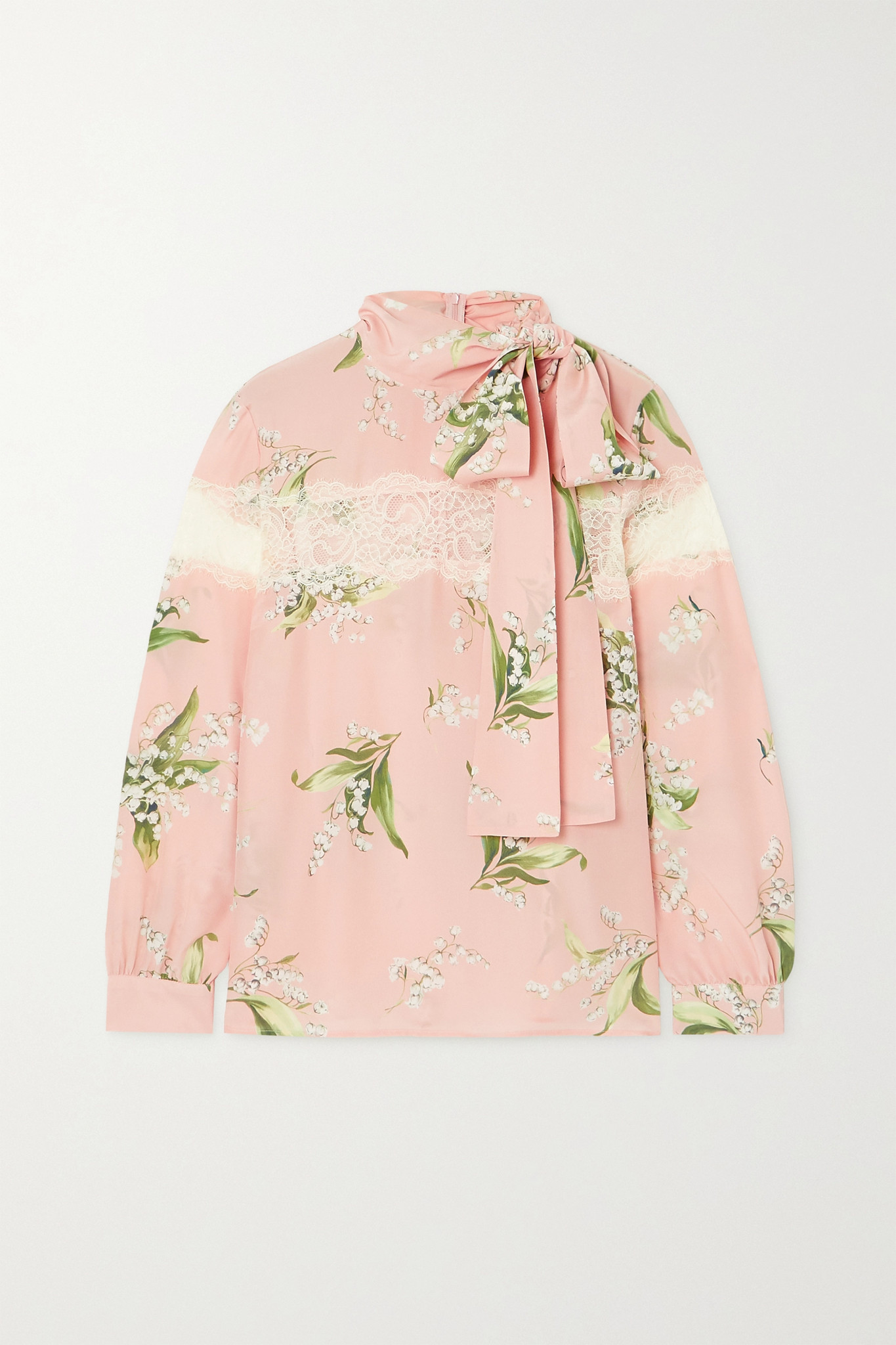 REDVALENTINO - Tie-detailed Lace-paneled Floral-print Silk Crepe De Chine Blouse - Pink - IT40