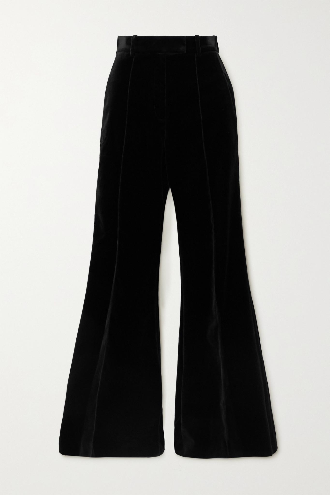 RACIL - Lincoln Cotton-blend Velvet Flared Pants - Black - FR38