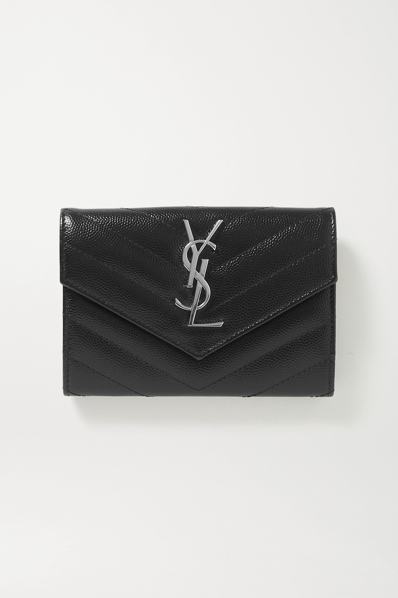SAINT LAURENT - Monogram Quilted Textured-leather Wallet - Black - one size