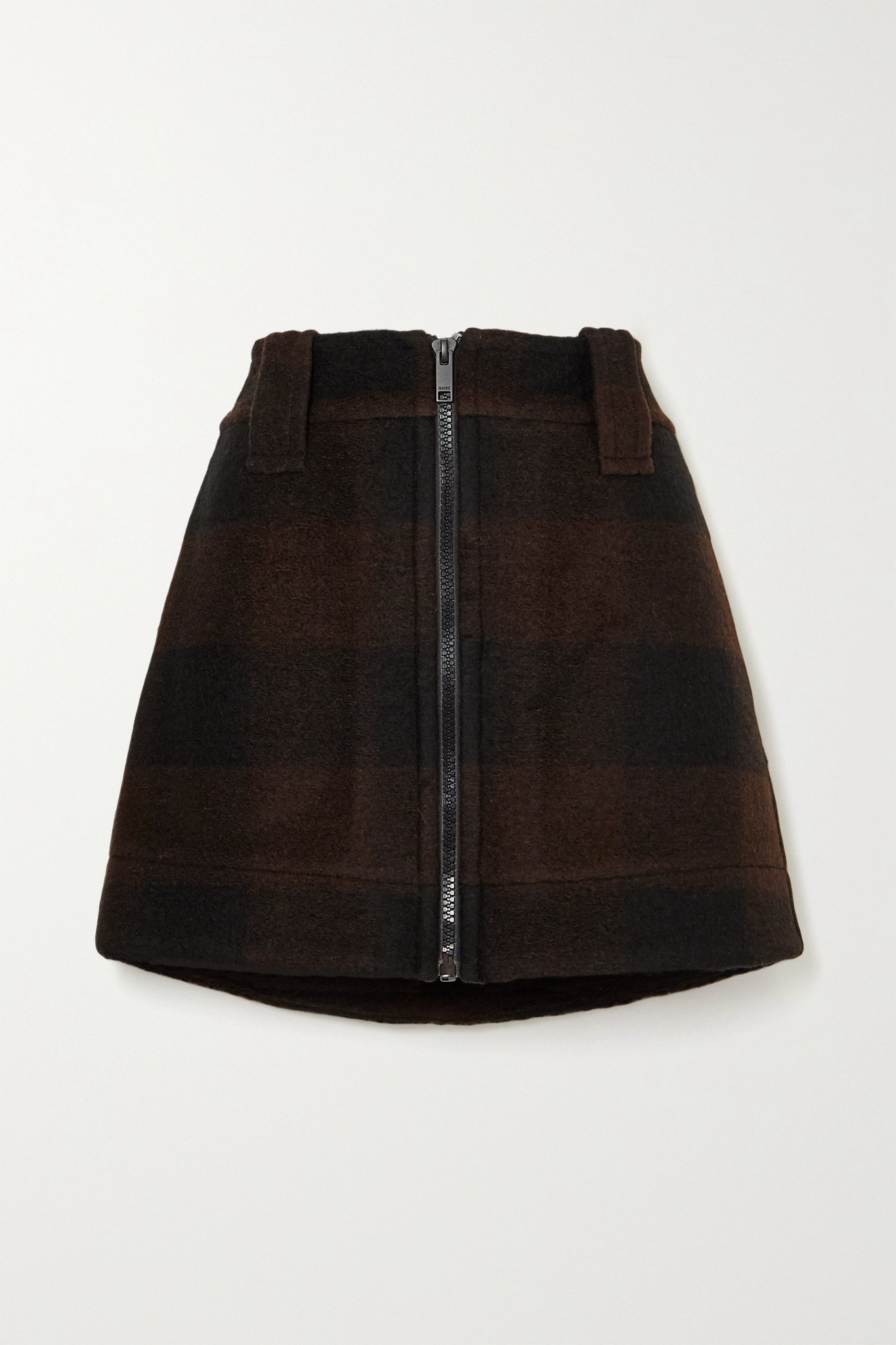 GANNI - Checked Wool-blend Mini Skirt - Black - DK36