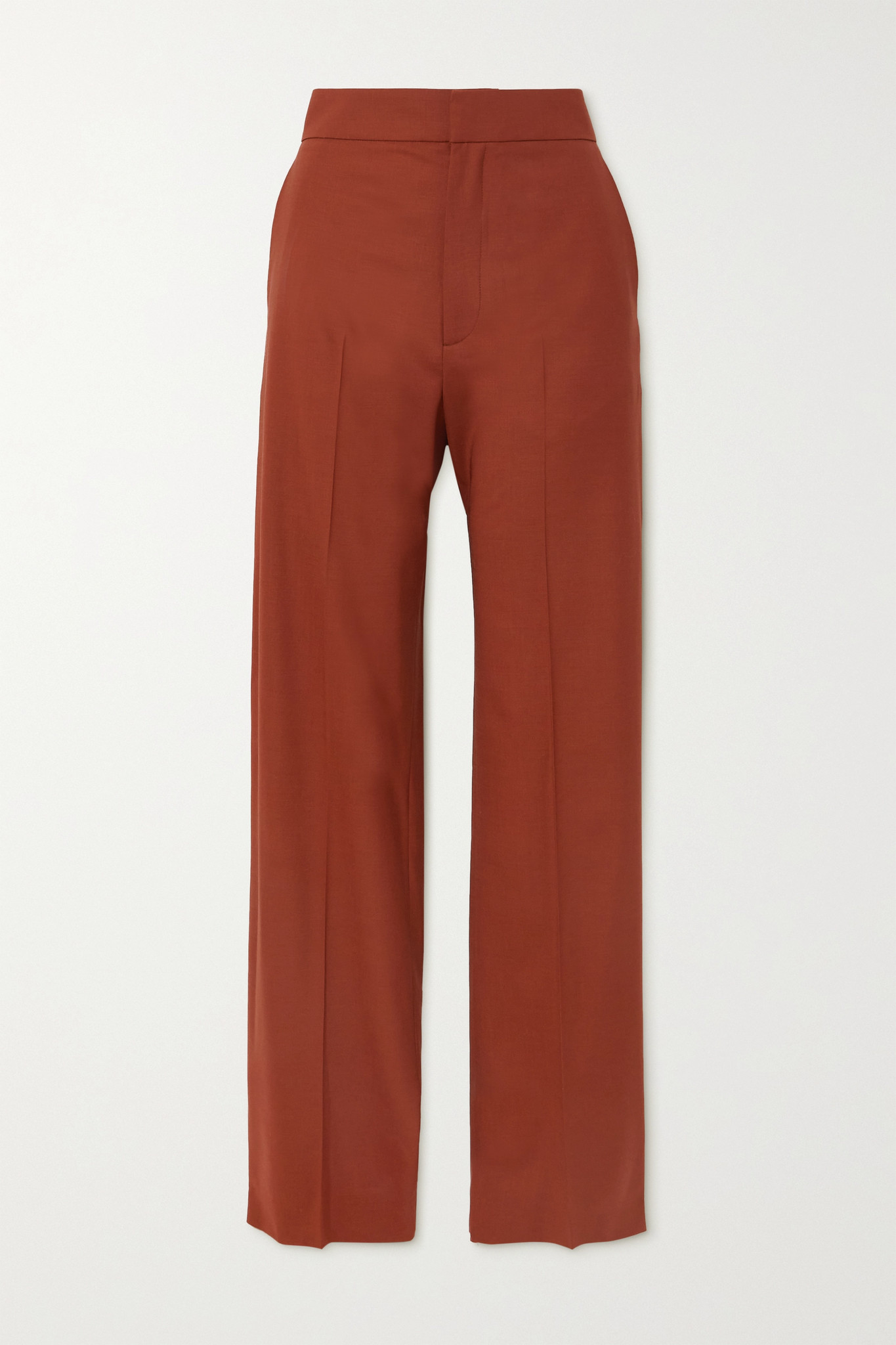 GAUCHERE - Seline 褶裥羊毛混纺阔腿裤 - 红色 - FR38