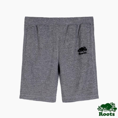 Roots男裝-椒鹽灰系列 海狸LOGO毛圈布短褲-灰色