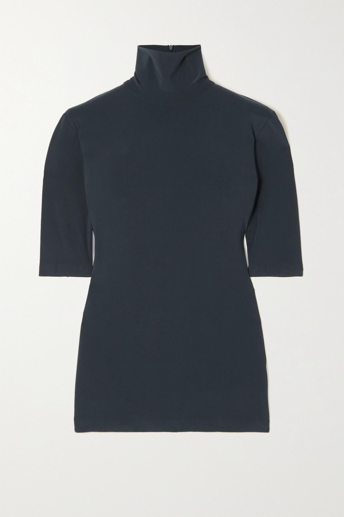 NORMA KAMALI - Stretch-jersey Turtleneck Top - Blue - small