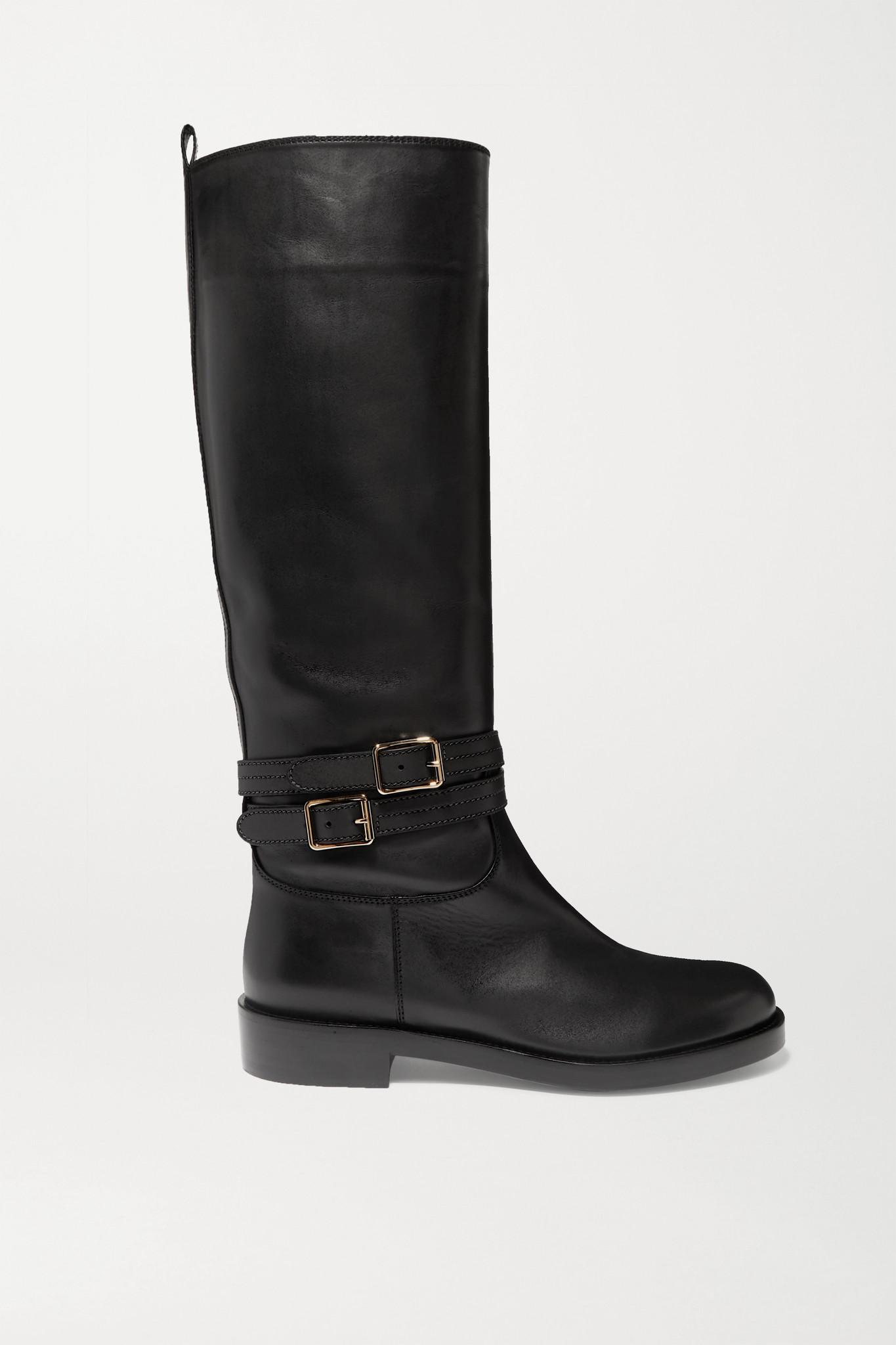 GIANVITO ROSSI - 搭扣皮革及膝长靴 - 黑色 - IT38